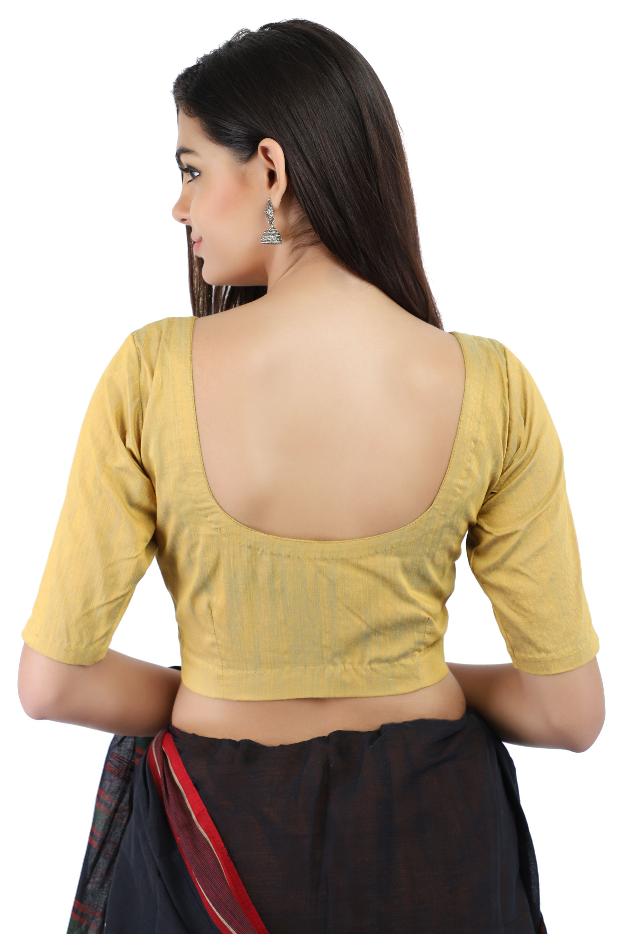Silk Slub Yellow and Blue Dual Tone Non-Padded Blouse in V-Neck With Front Hook Closure 2