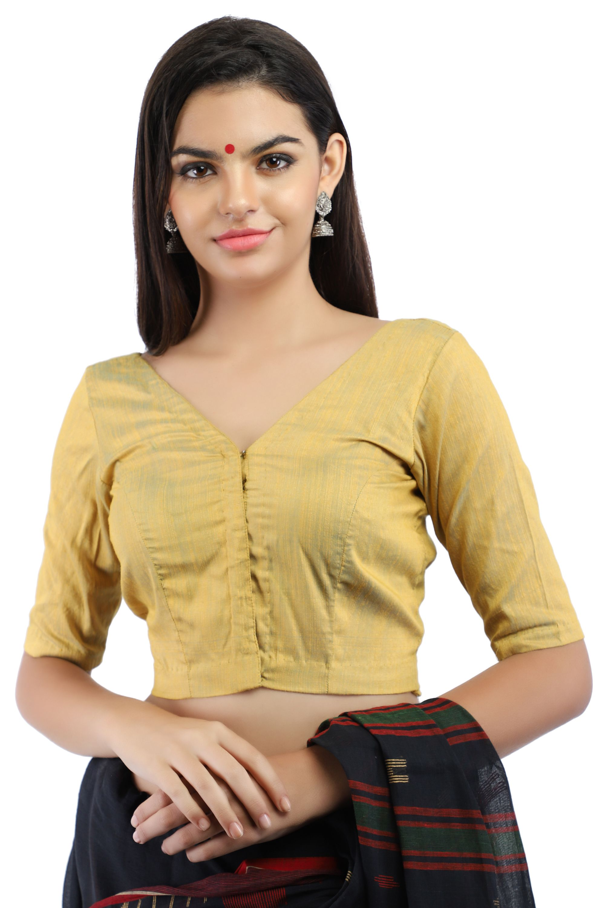Silk Slub Yellow and Blue Dual Tone Non-Padded Blouse in V-Neck With Front Hook Closure