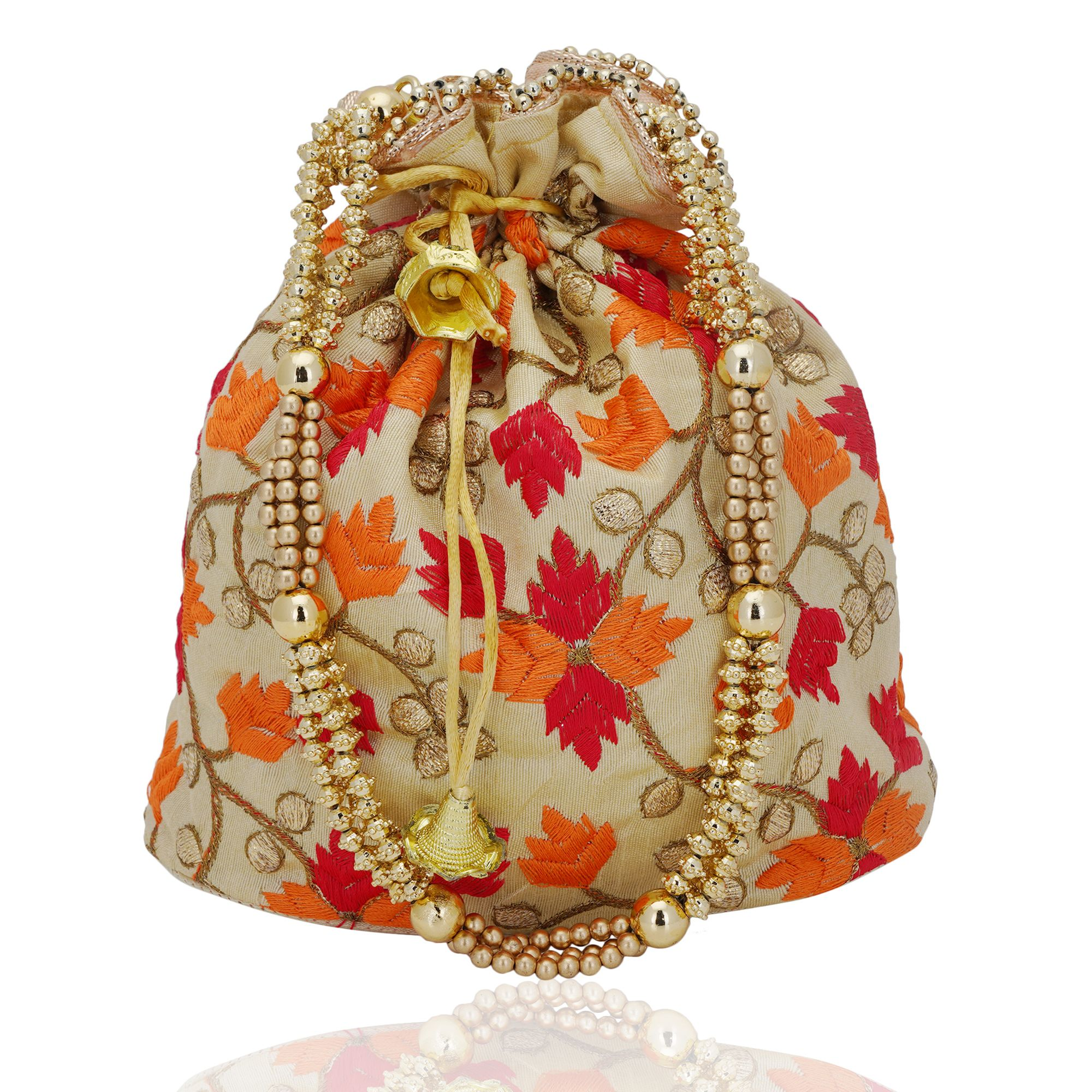 Beige and Multi Dupion Silk Phulkari Resham Work Potli Bag with Beads 1