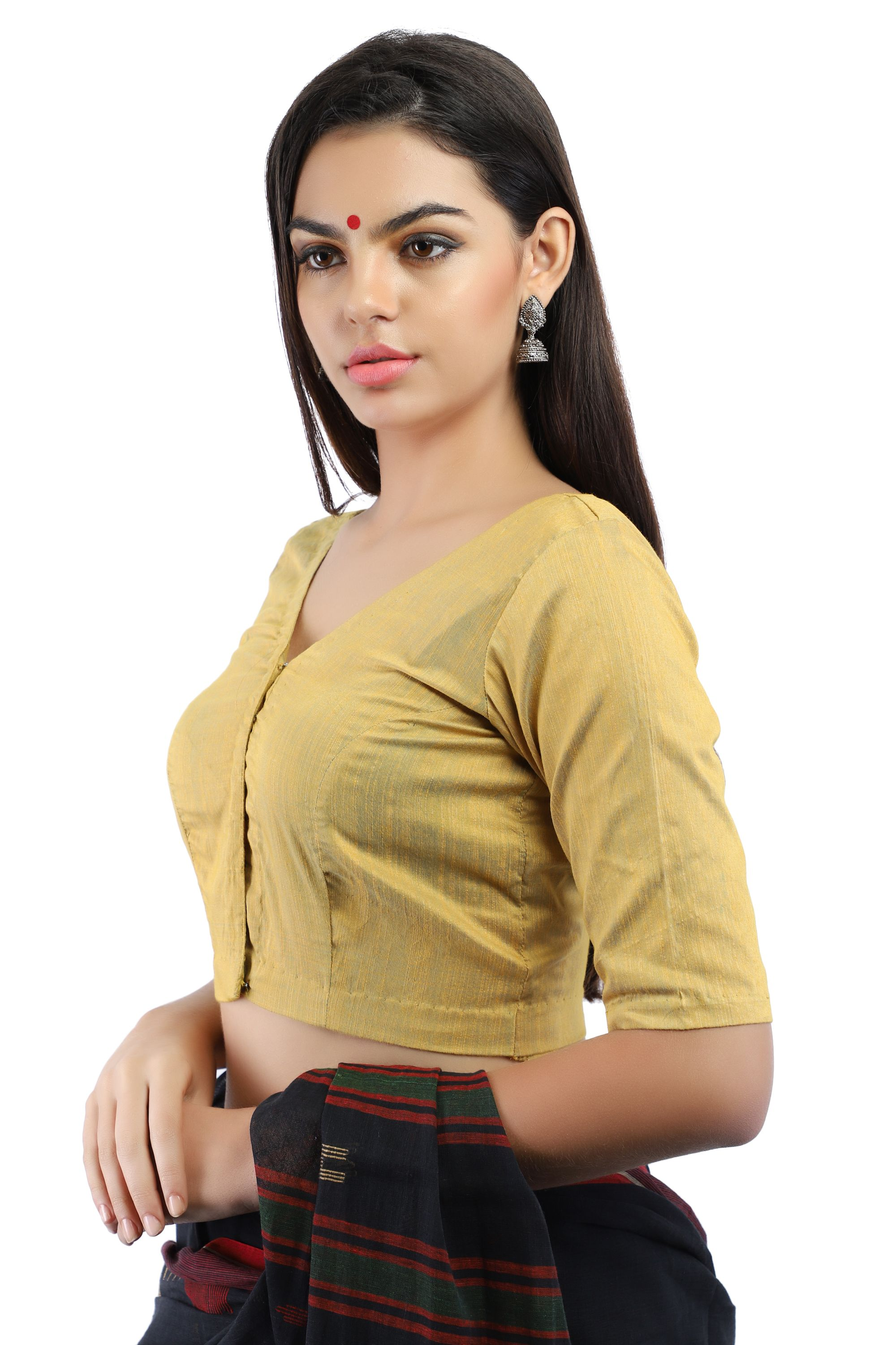 Silk Slub Yellow and Blue Dual Tone Non-Padded Blouse in V-Neck With Front Hook Closure 1