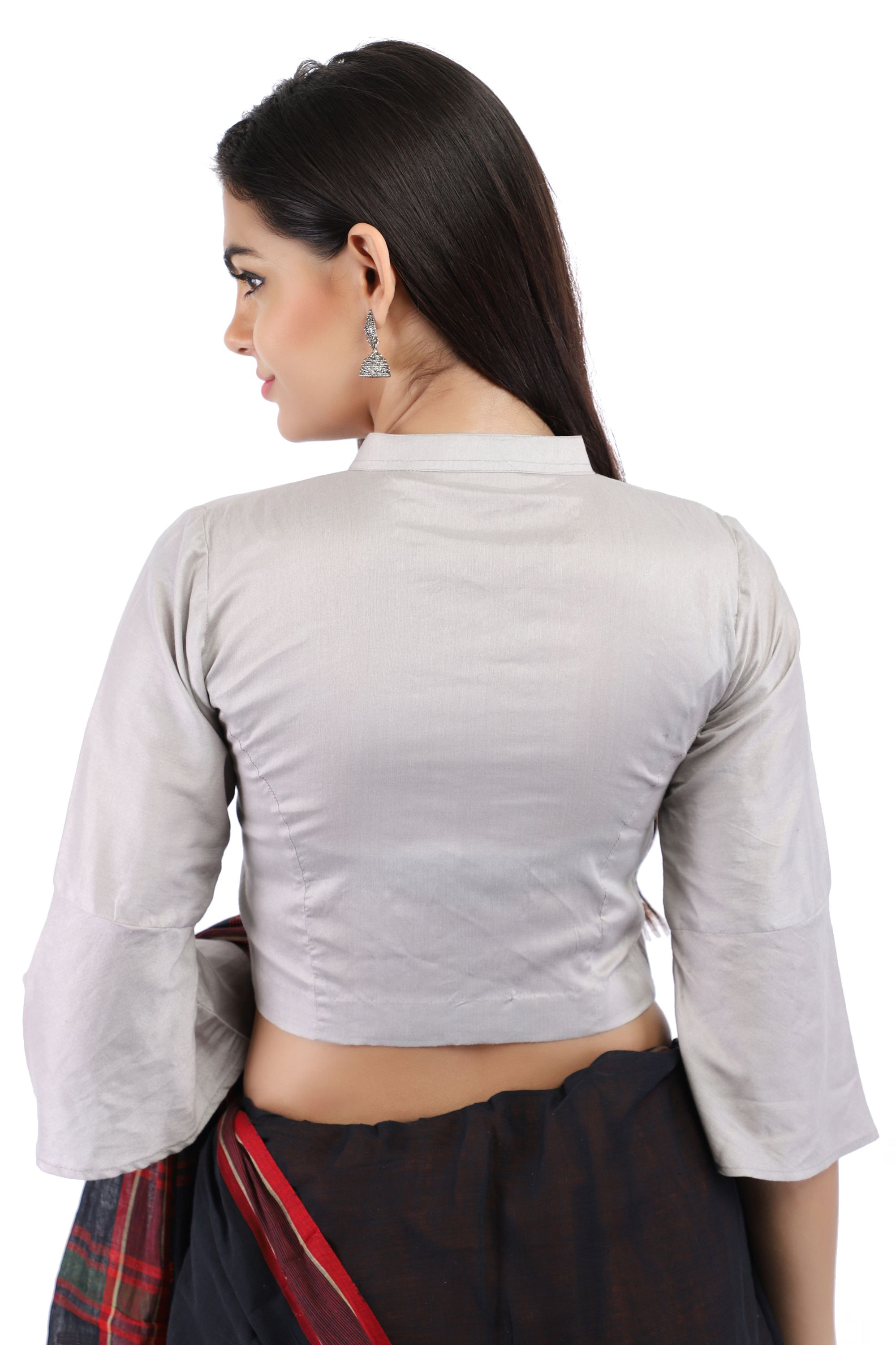 Grey Cotton Silk Non-Padded Front-Open Blouse with Bell Sleeve 2