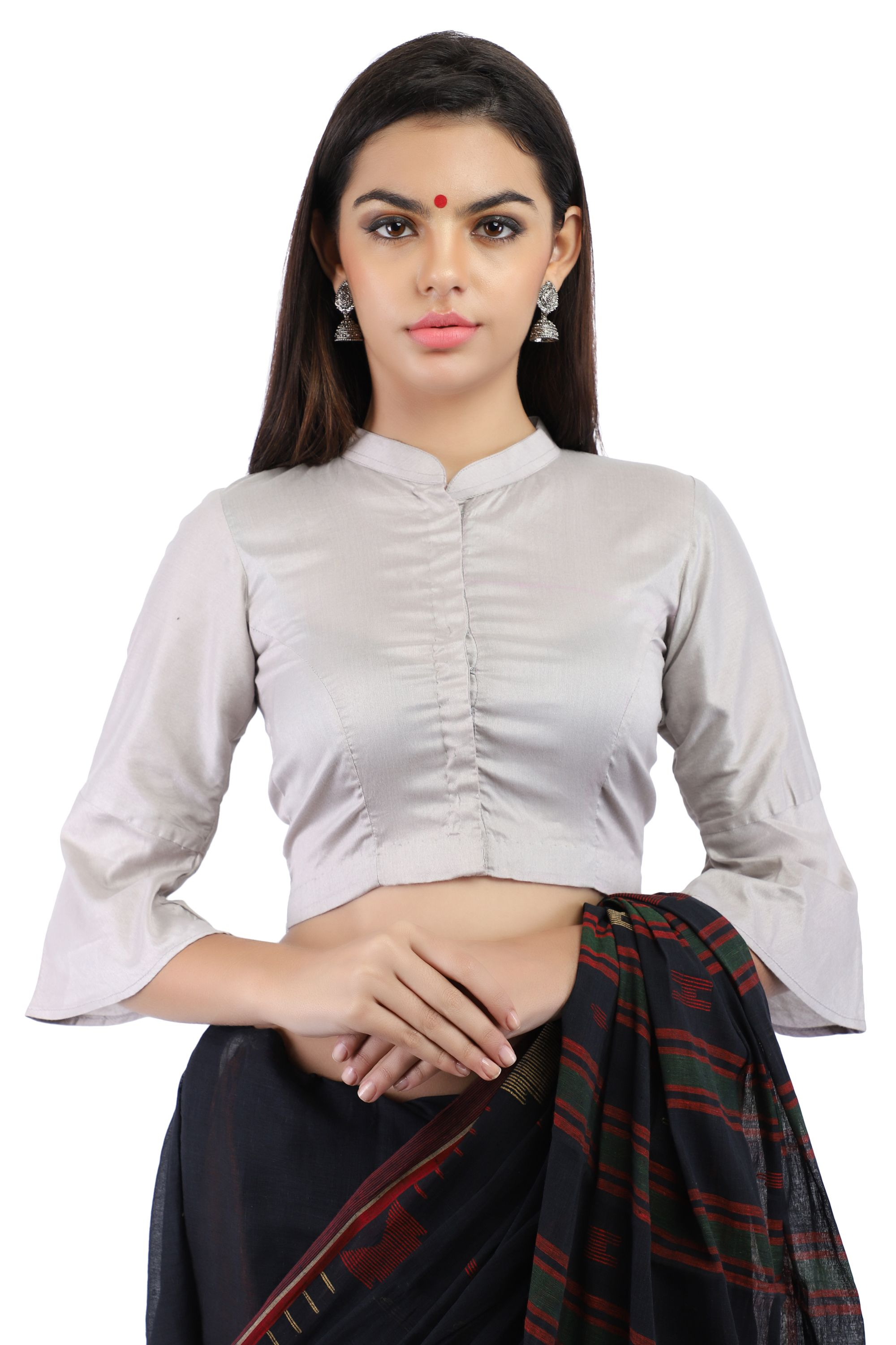 Grey Cotton Silk Non-Padded Front-Open Blouse with Bell Sleeve