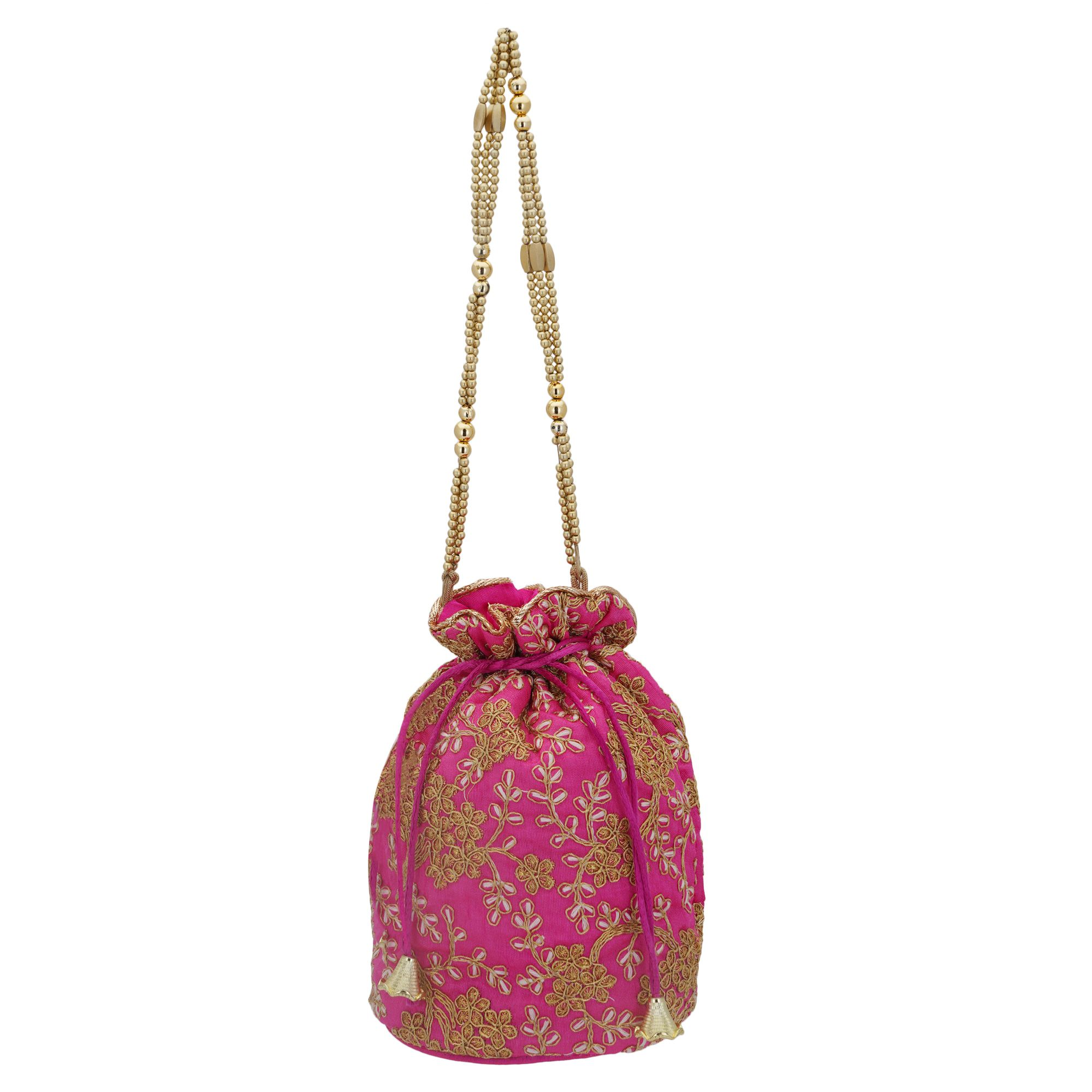 Pink Embroidered Potli Bag in Golden Zari and Beads 1