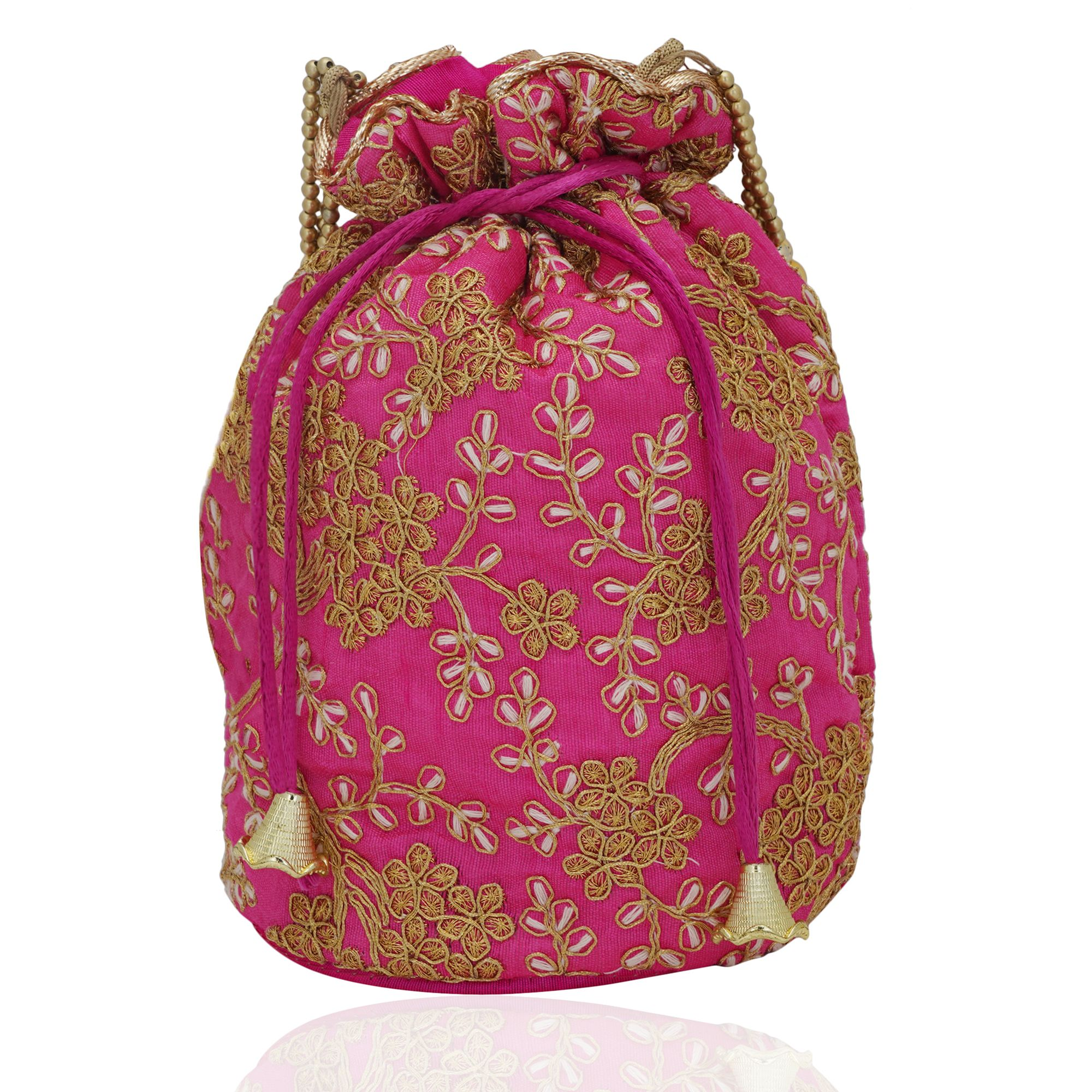 Pink Embroidered Potli Bag in Golden Zari and Beads