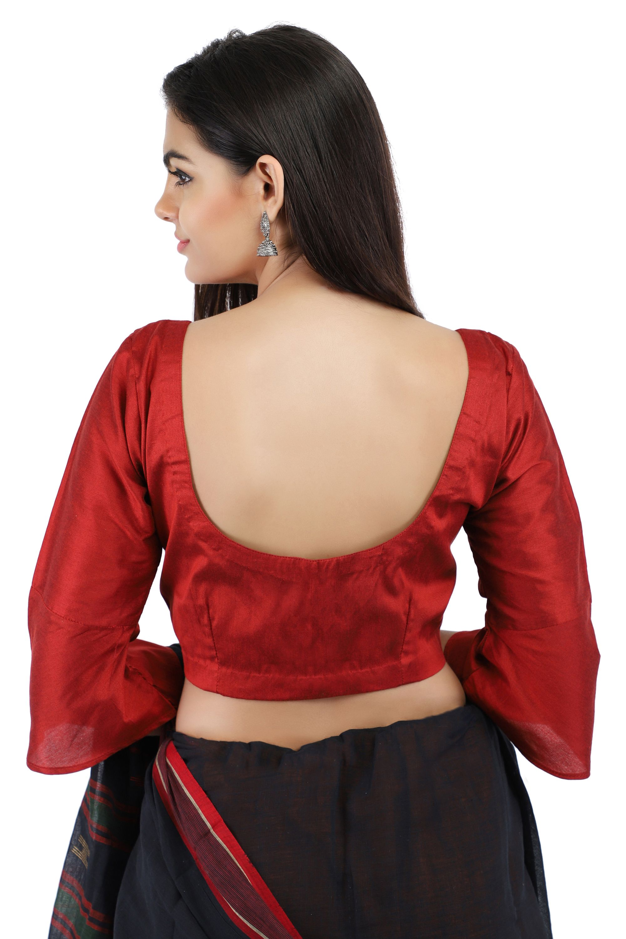 Maroon Cotton Silk Non-Padded Front Open Blouse with Bell Sleeve 2