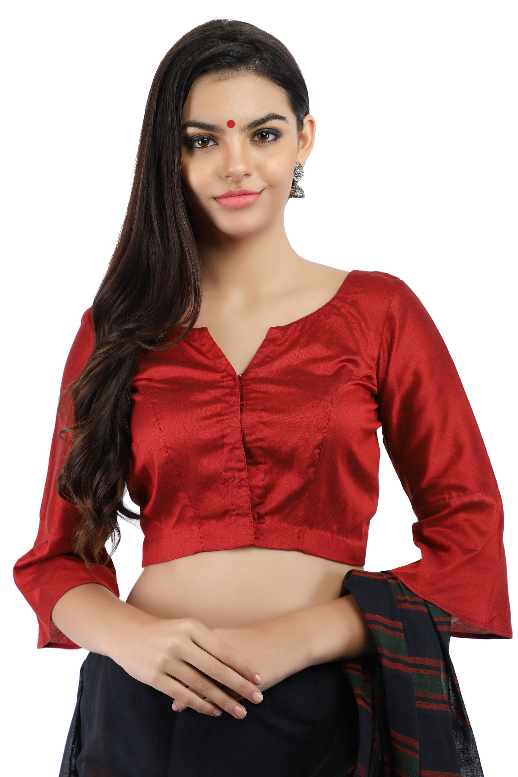Maroon Cotton Silk Non-Padded Front Open Blouse with Bell Sleeve