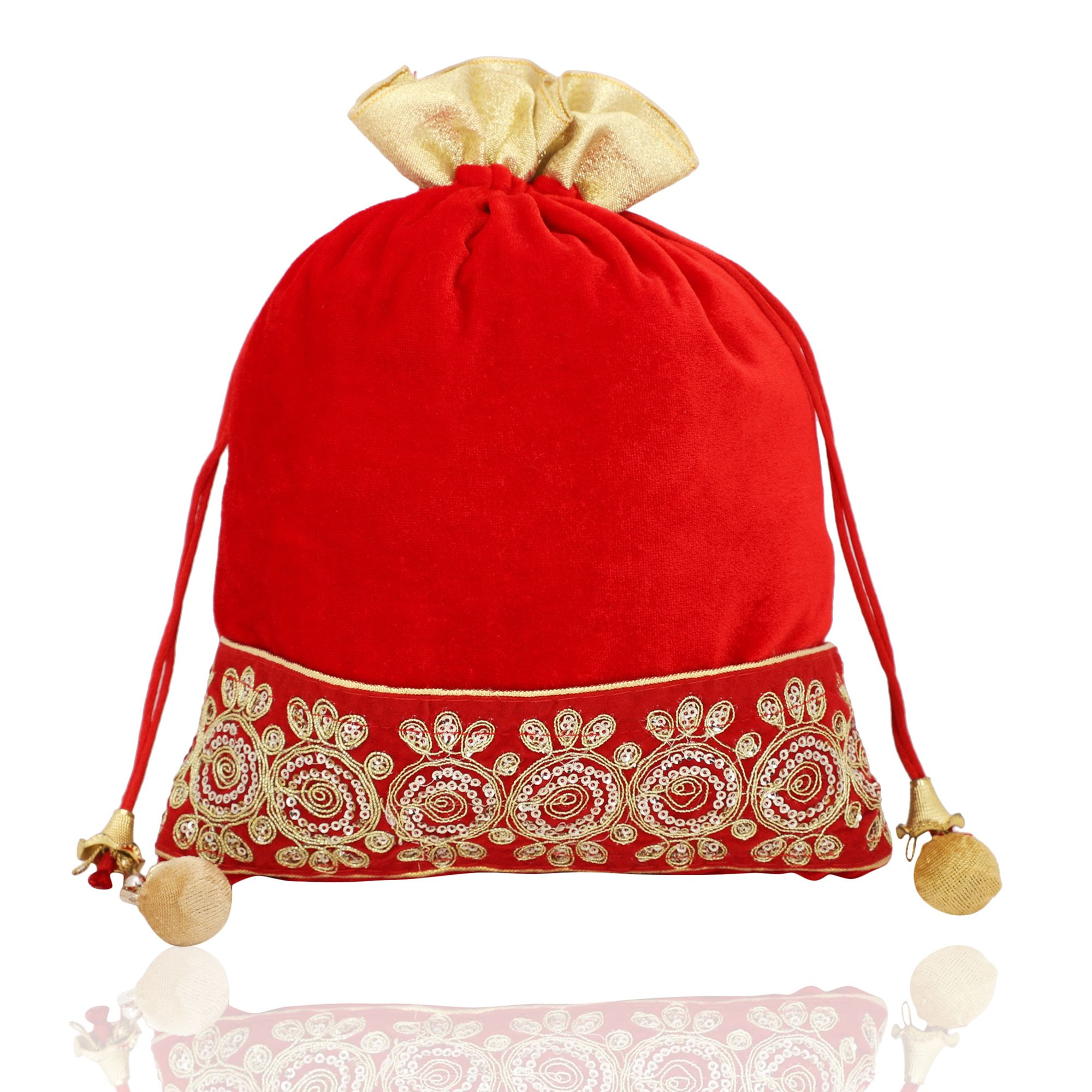Red Velvet Potli Bag With Golden Tassel 1