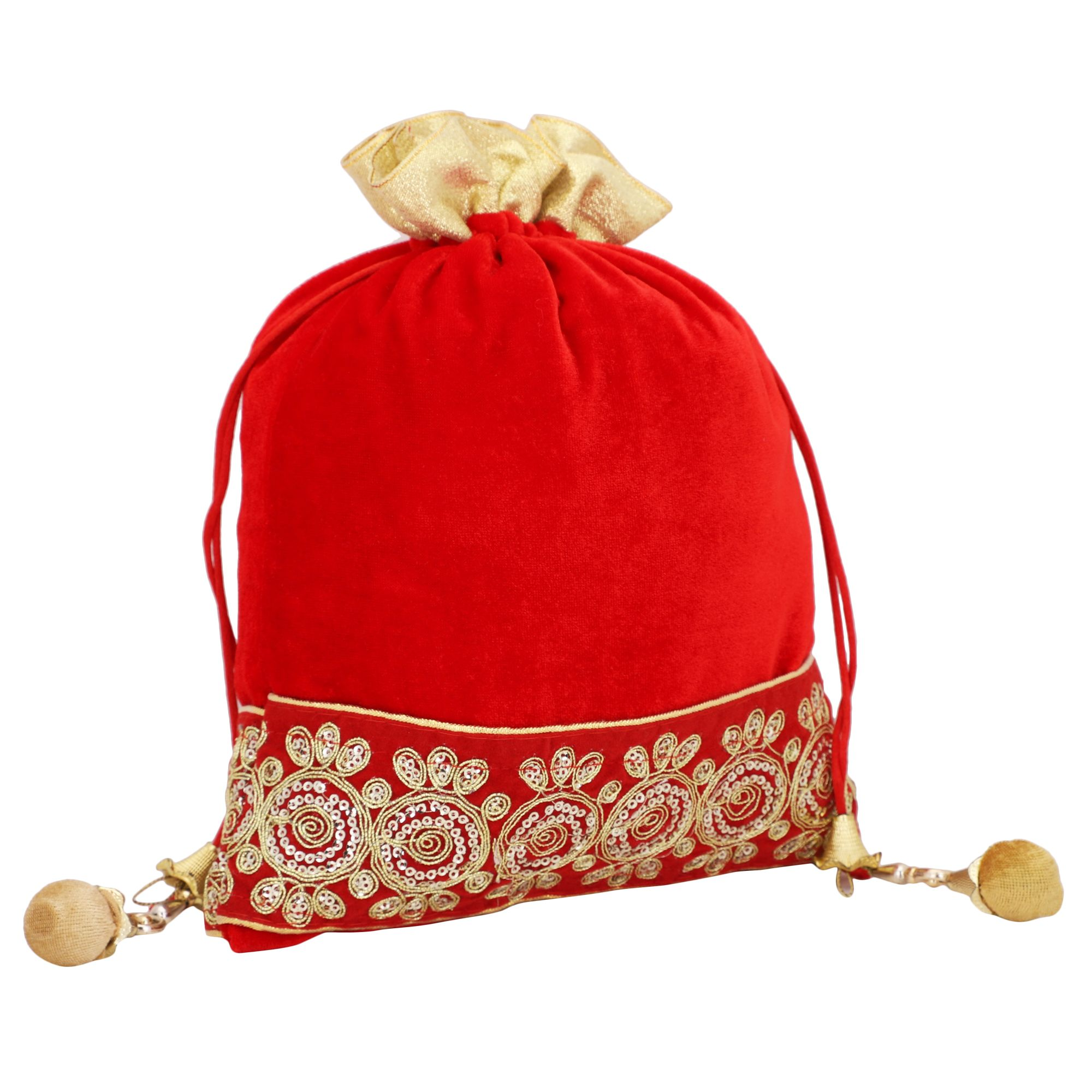 Red Velvet Potli Bag With Golden Tassel 2