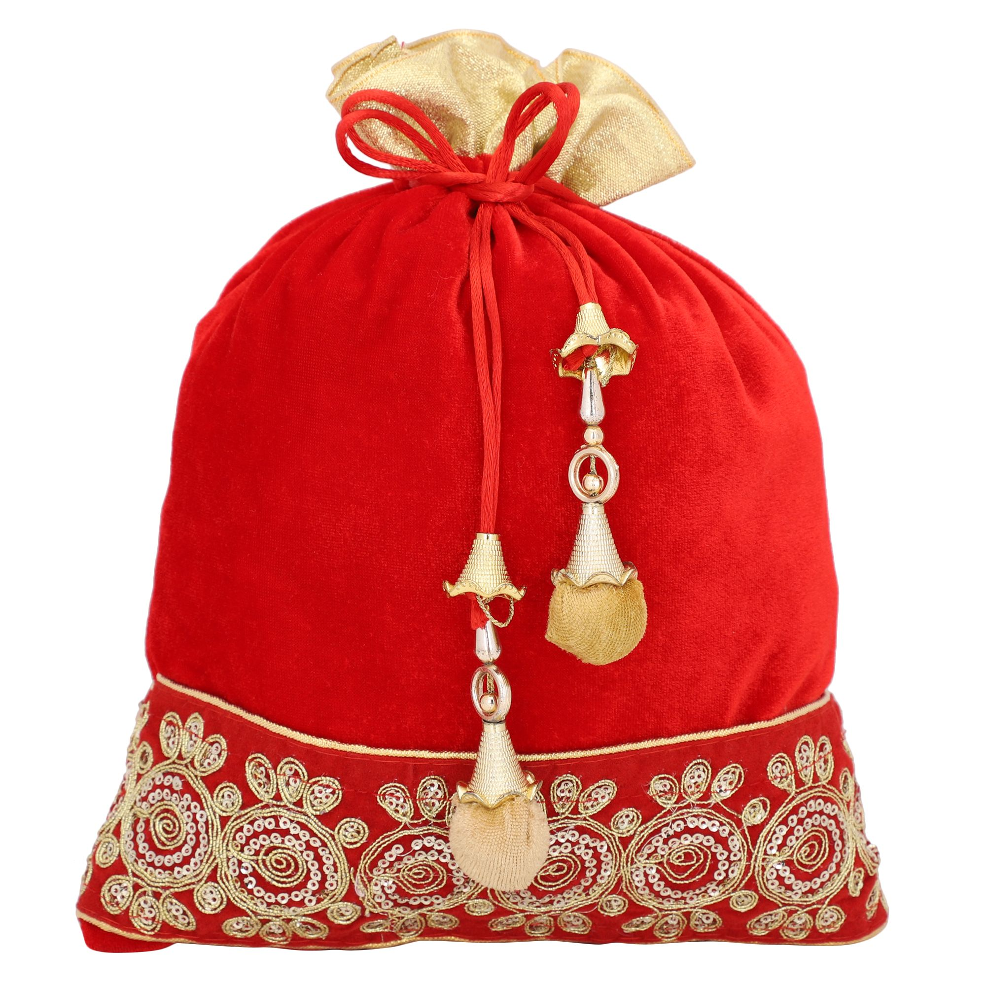 Red Velvet Potli Bag With Golden Tassel