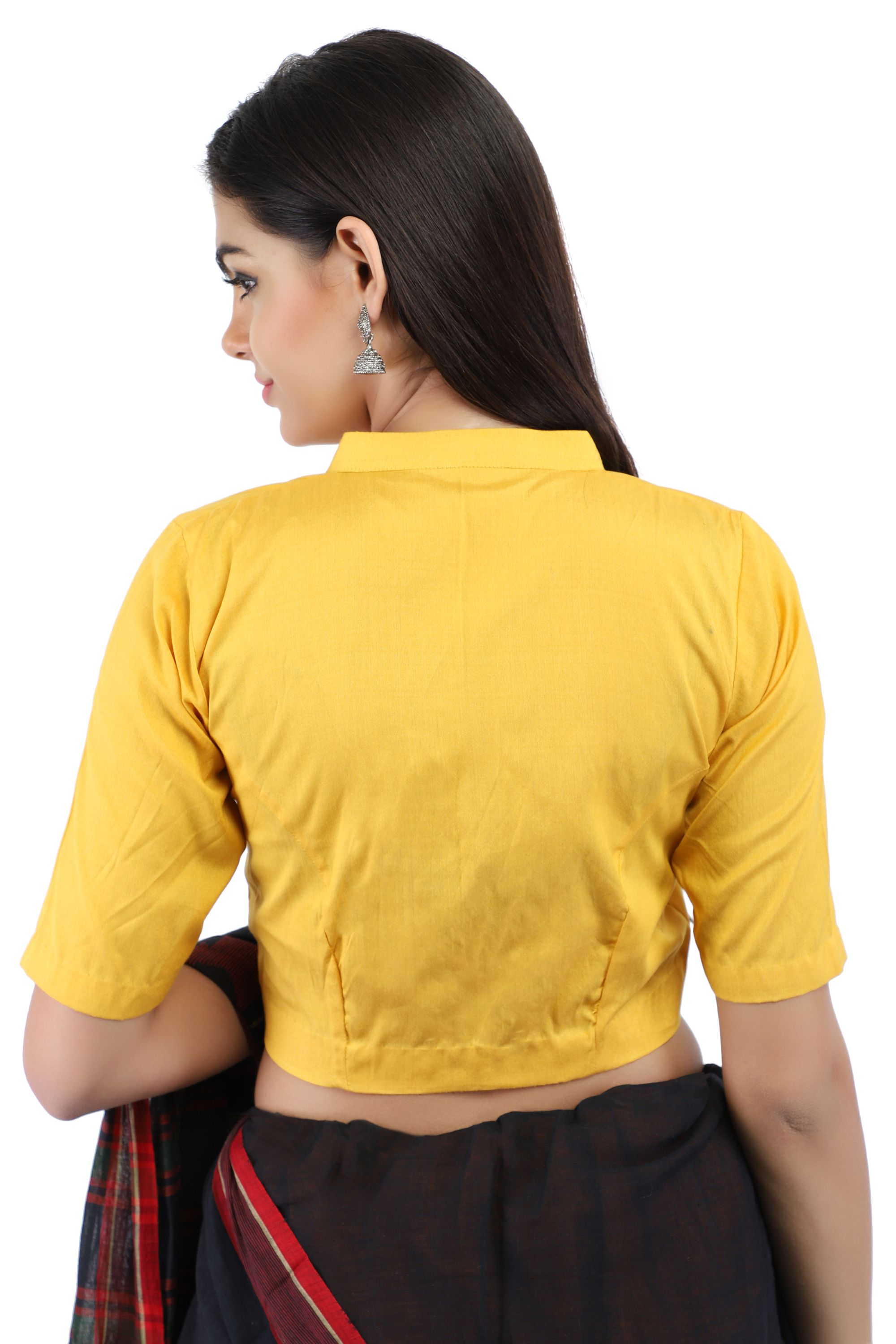 Yellow Cotton Silk Non-Padded Blouse with Hook Closure on Front 2