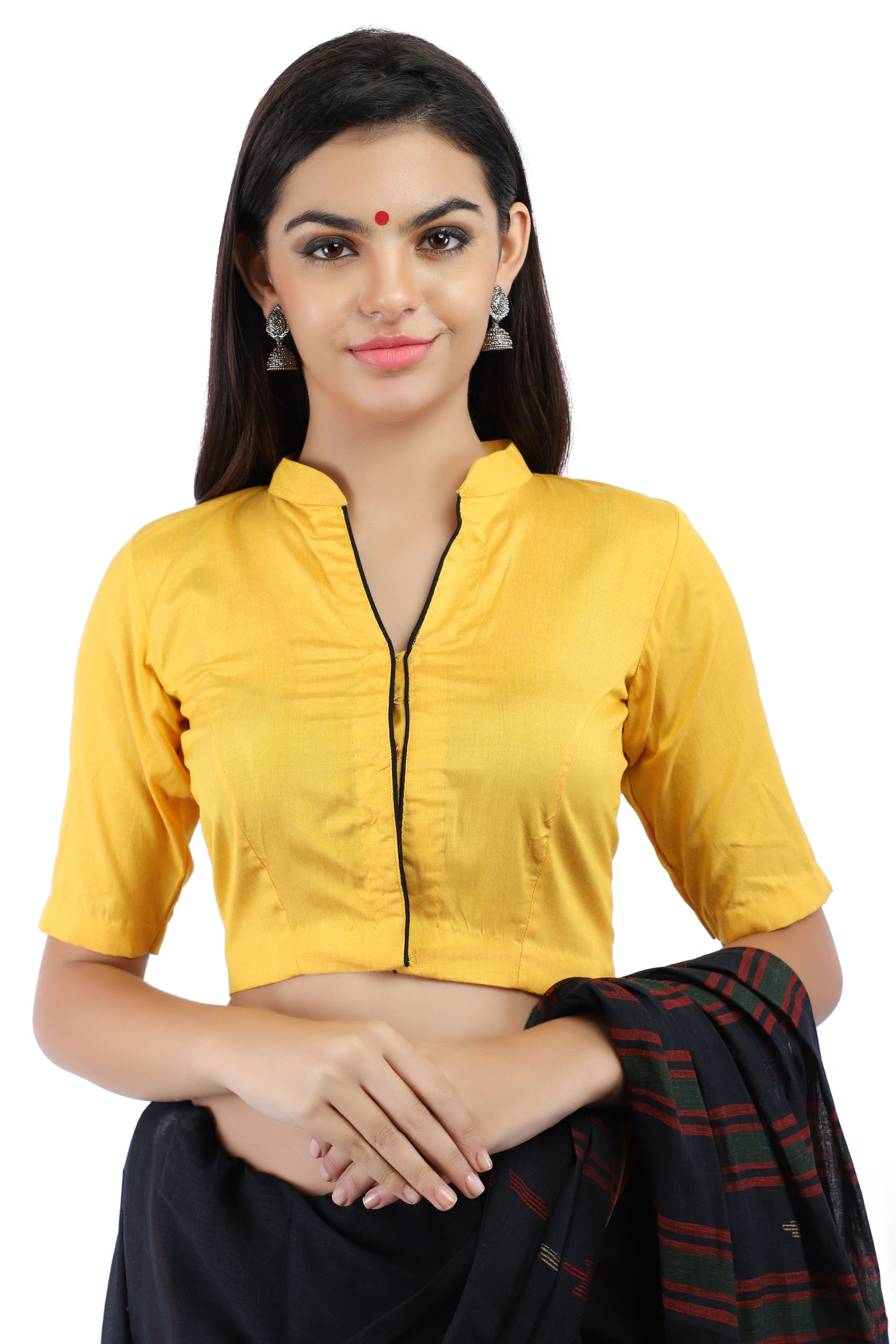 Yellow Cotton Silk Non-Padded Blouse with Hook Closure on Front