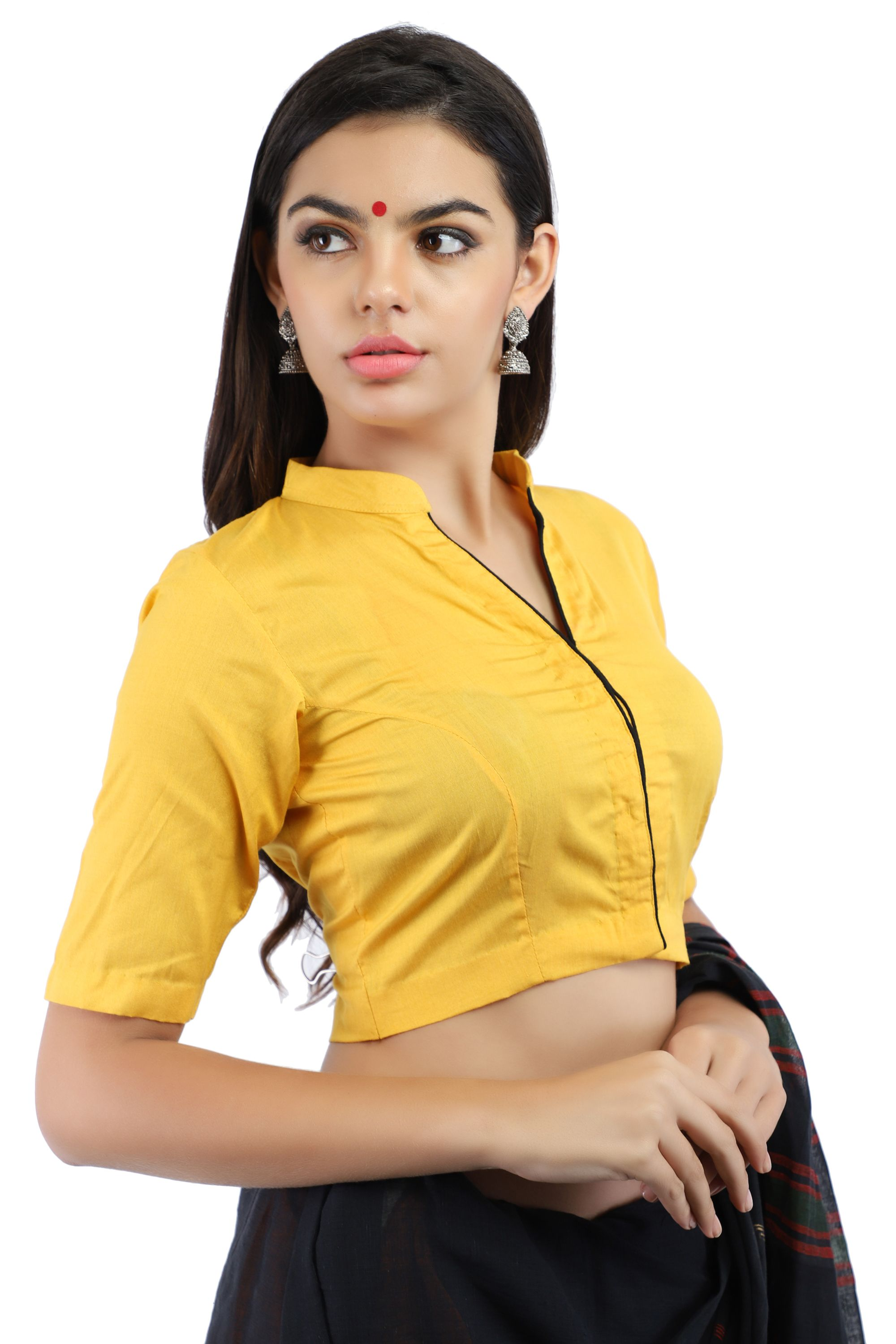 Yellow Cotton Silk Non-Padded Blouse with Hook Closure on Front 1