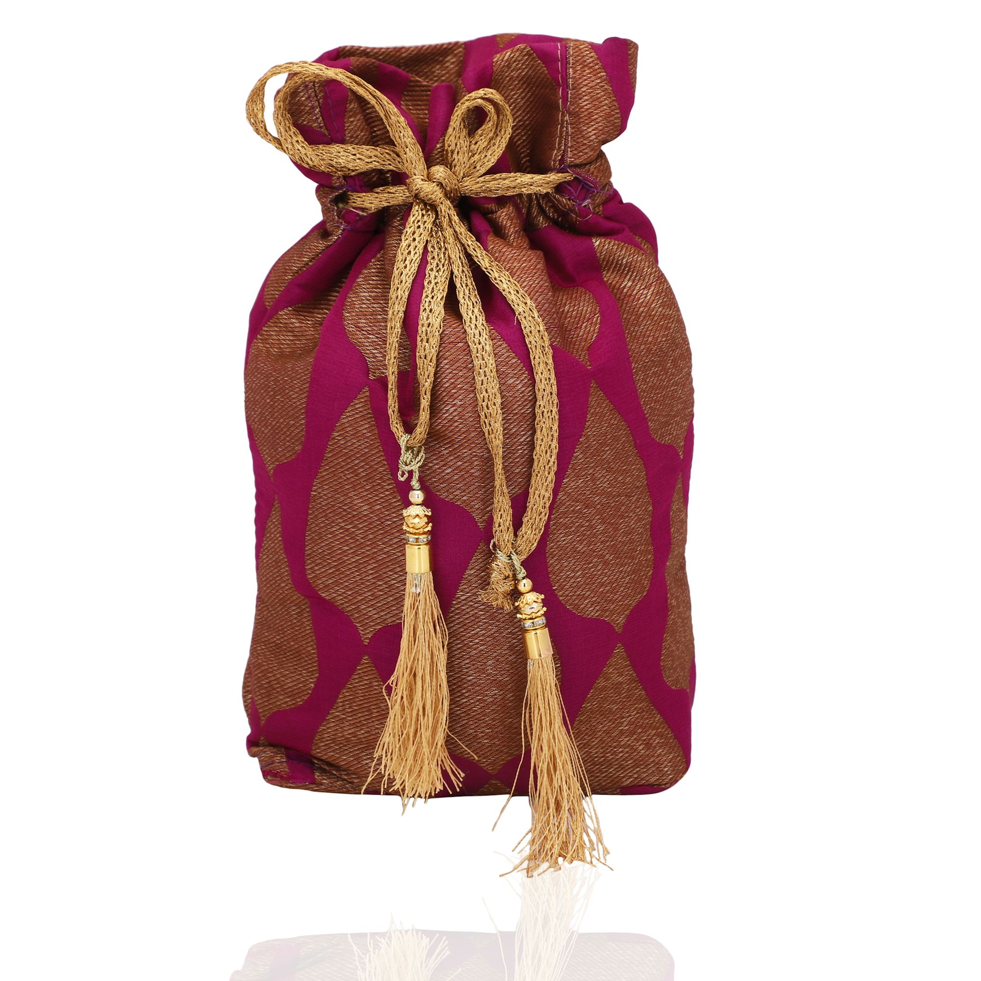 Violet Banarasi Jamawer Potli Bag With Tassels 1