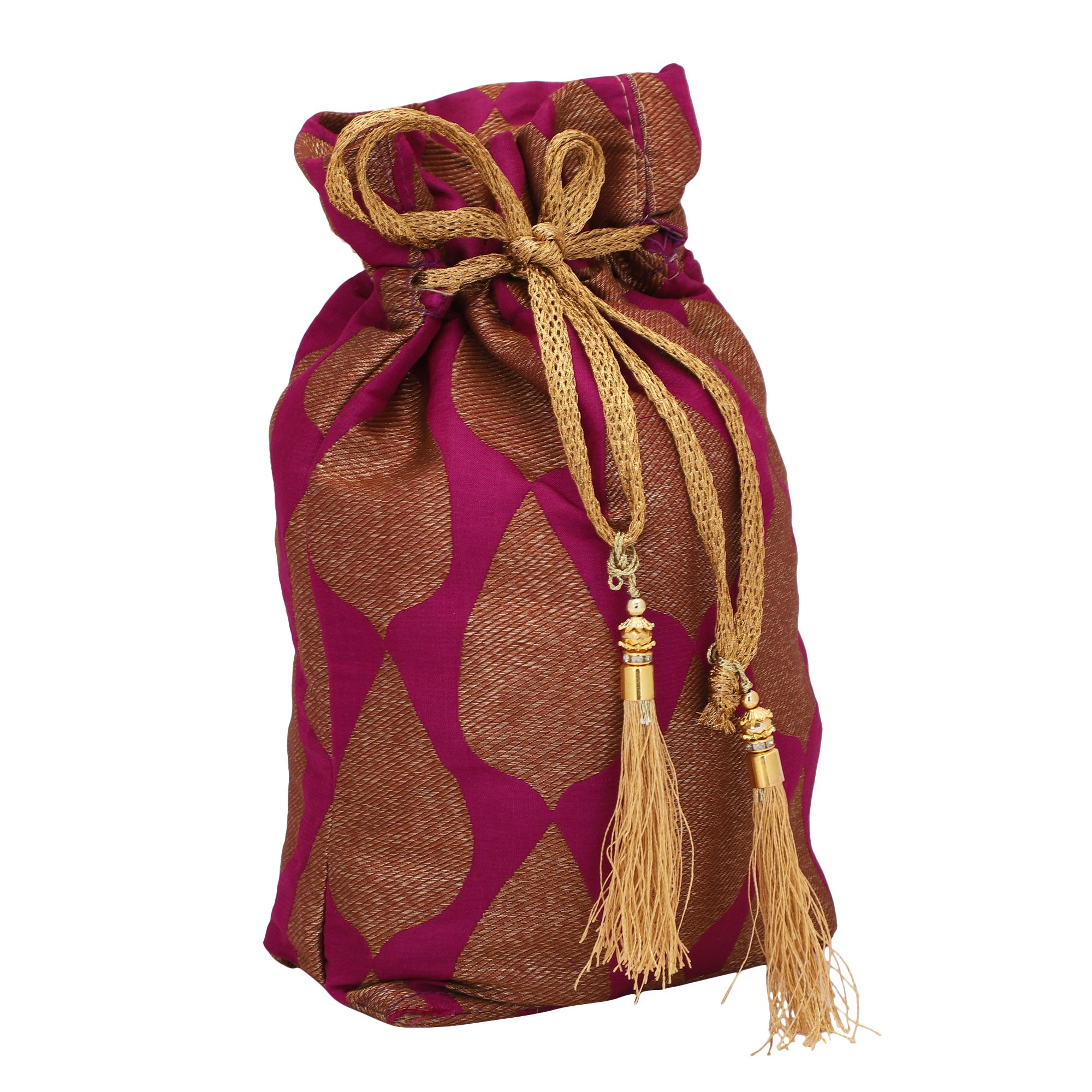 Violet Banarasi Jamawer Potli Bag With Tassels 2