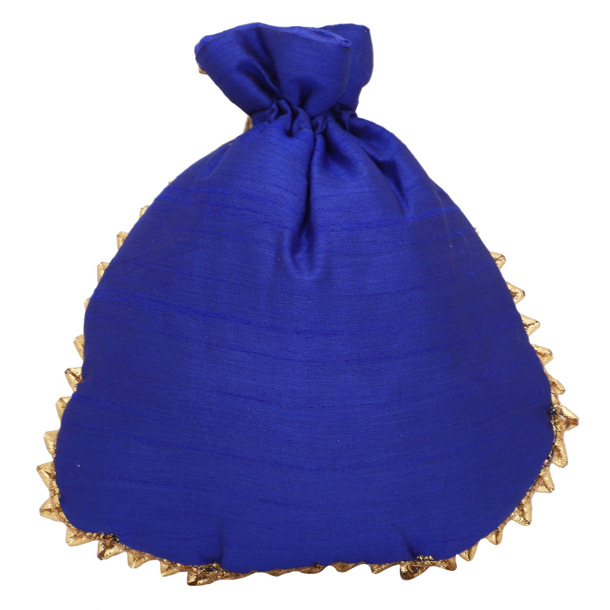 Dupion Silk Gotapatti Potli Bag in Royal Blue 2