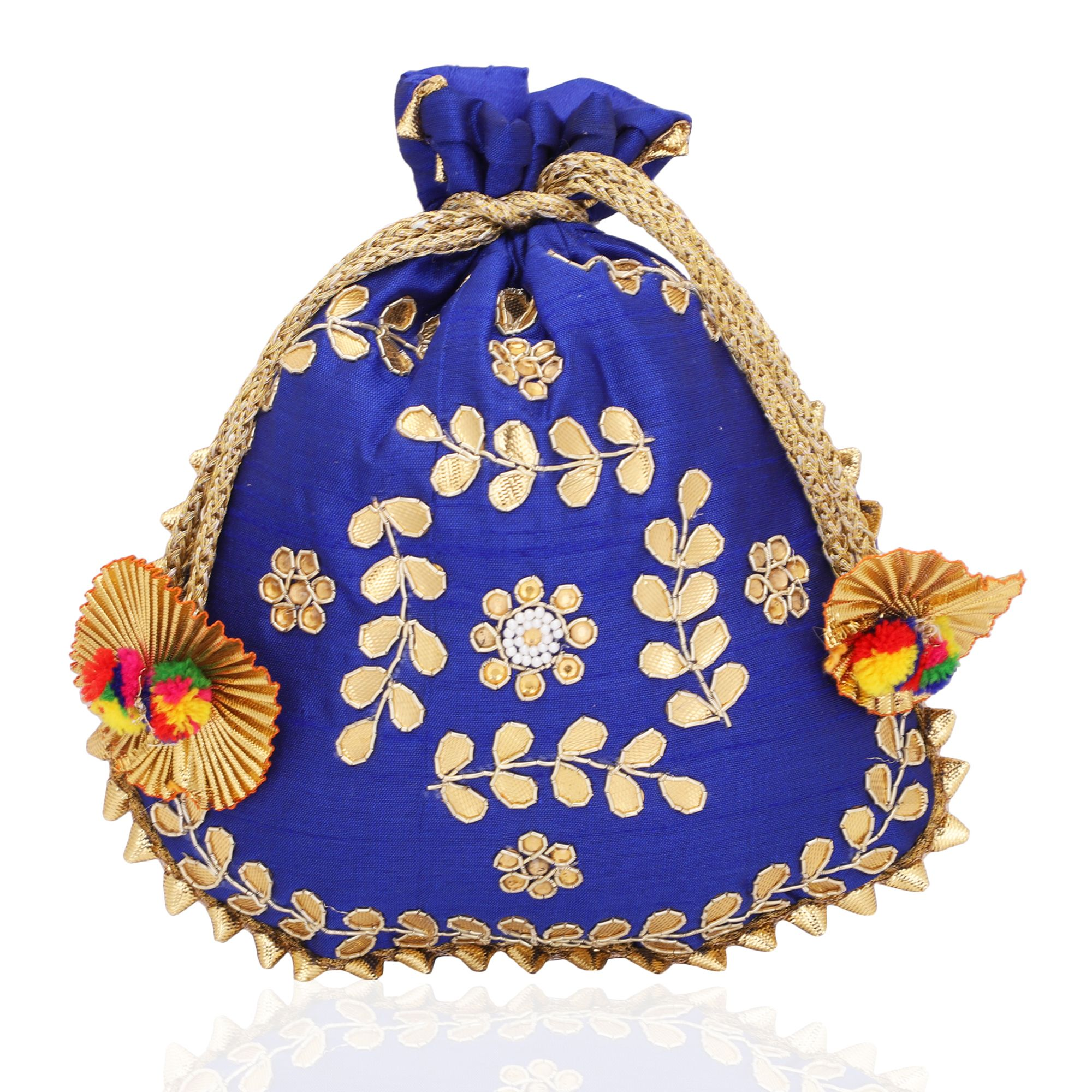 Dupion Silk Gotapatti Potli Bag in Royal Blue