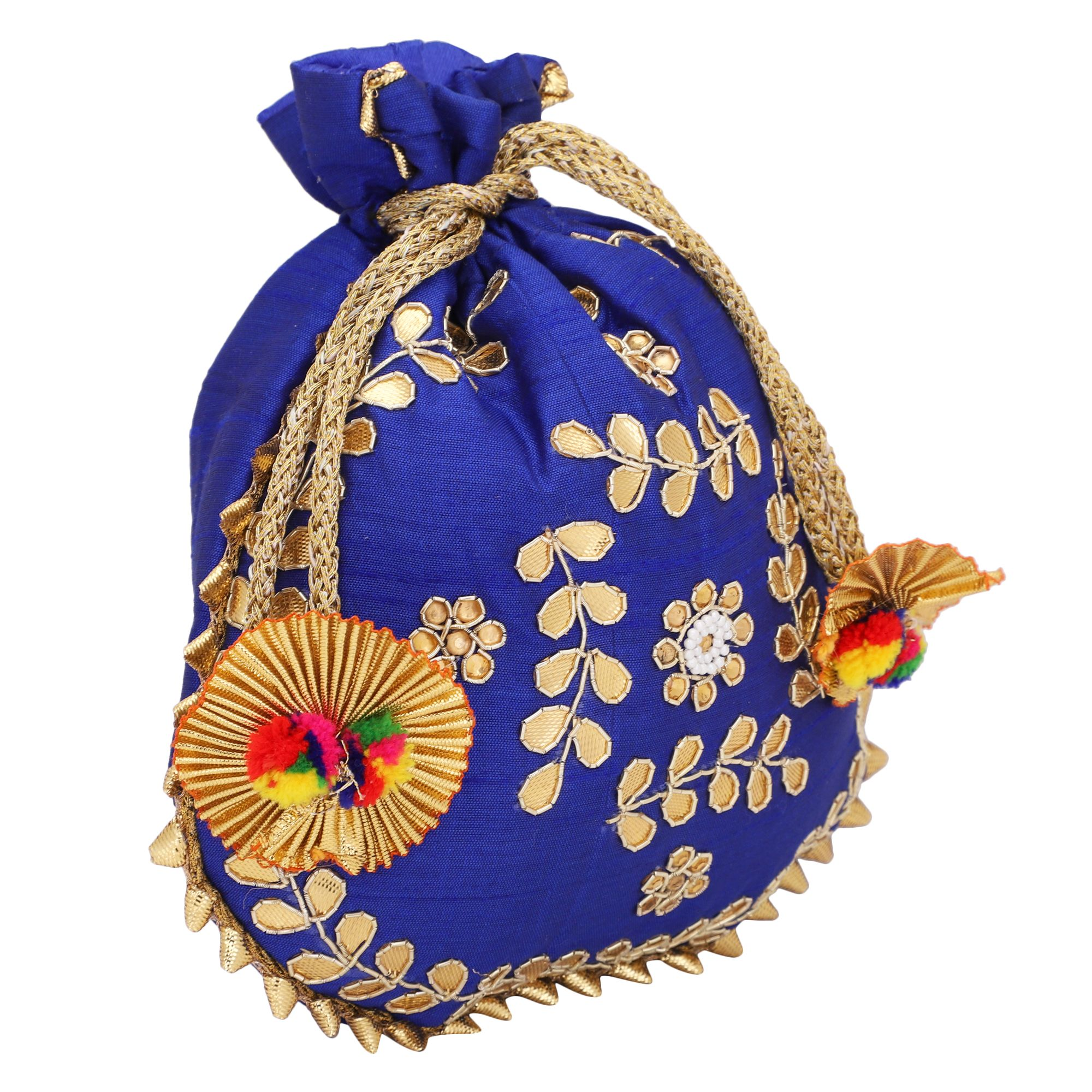 Dupion Silk Gotapatti Potli Bag in Royal Blue 1