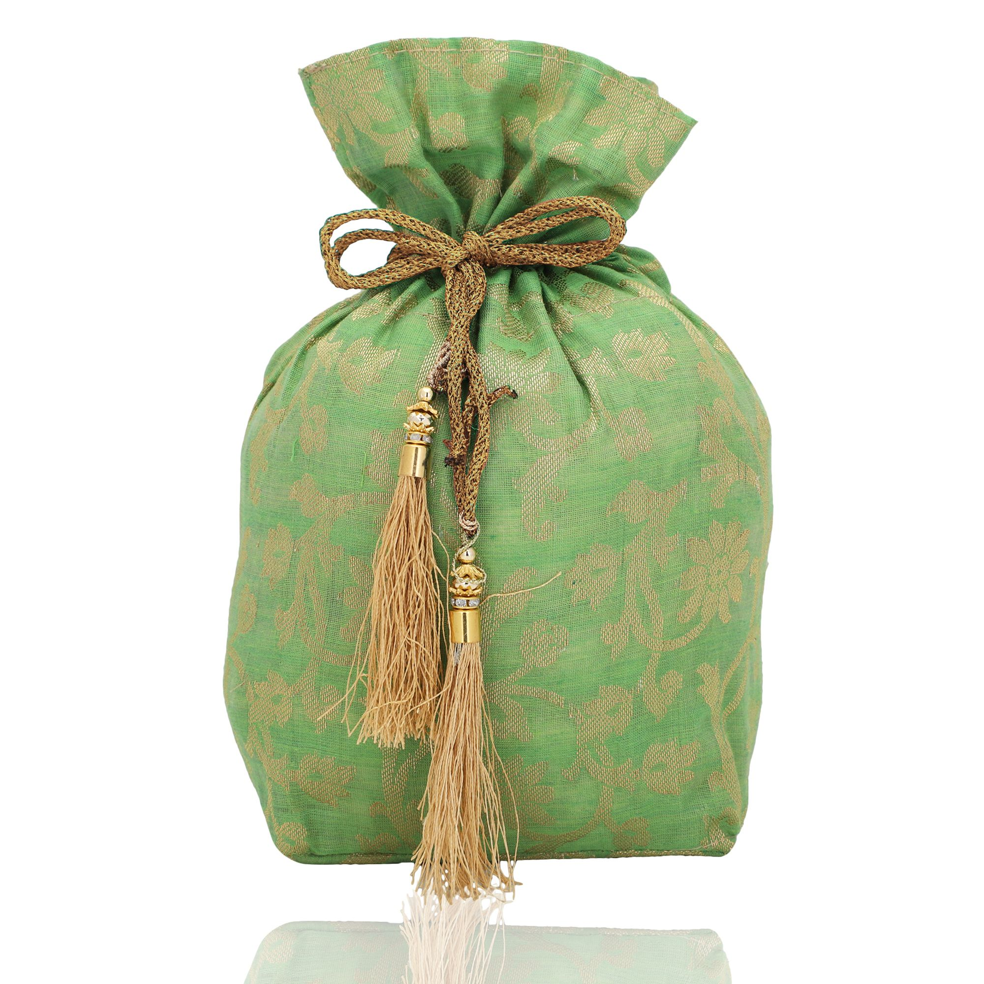 Banarasi Chanderi Jacquard Potli Bag in Light Green