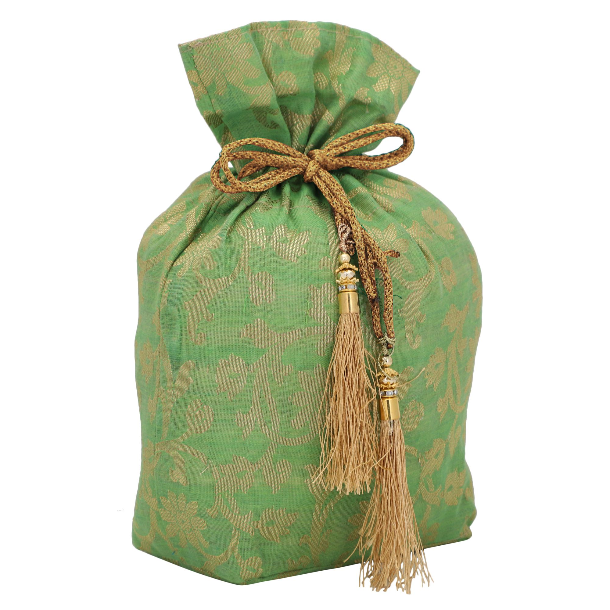 Banarasi Chanderi Jacquard Potli Bag in Light Green 1