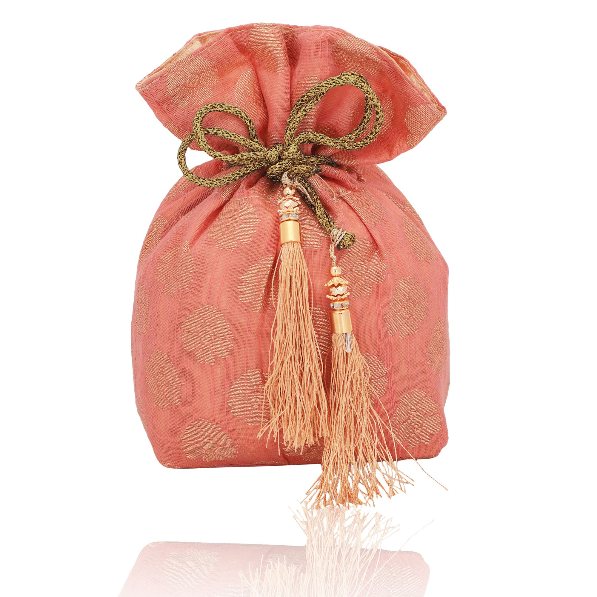 Banarasi Chanderi Jacquard Potli Bag in Peach
