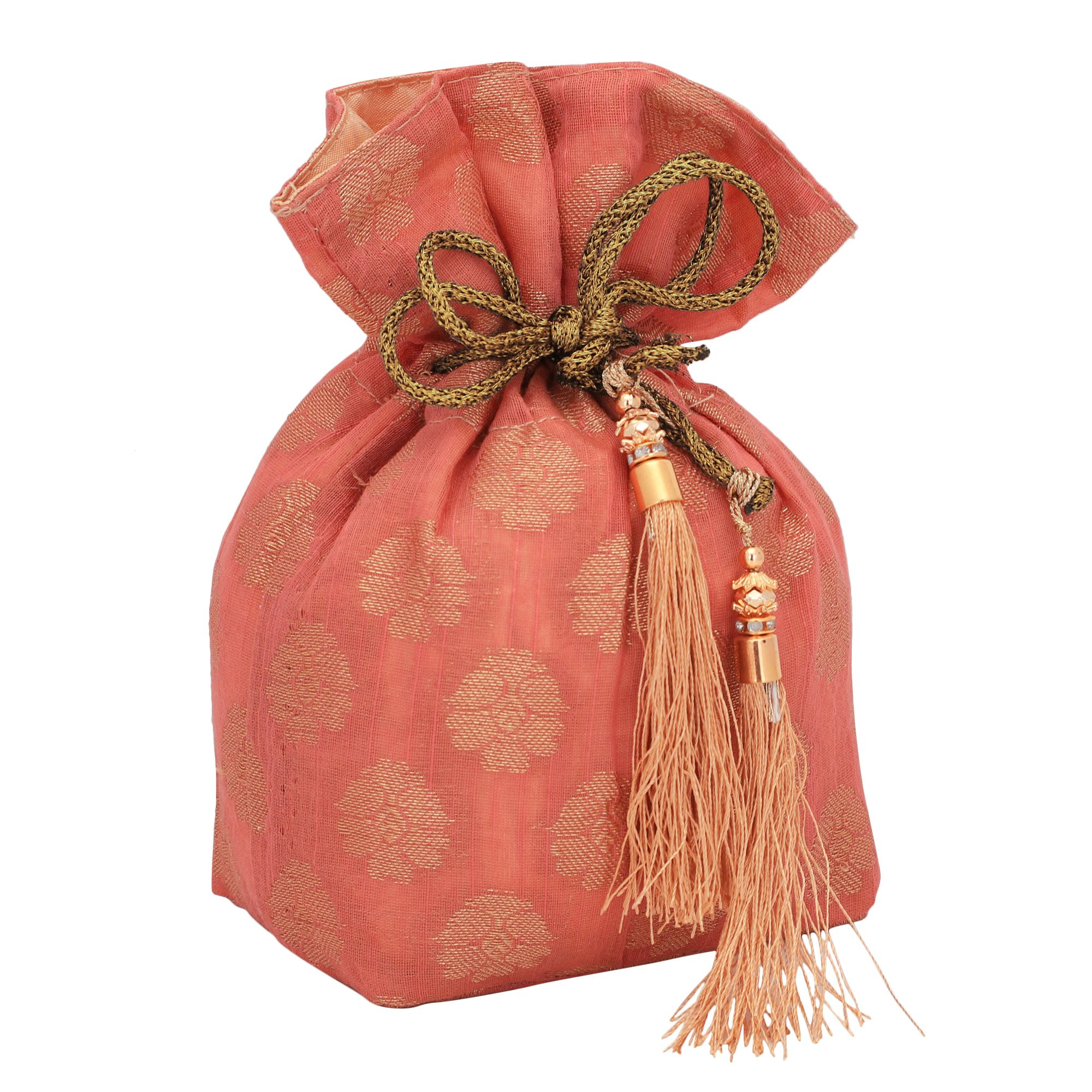Banarasi Chanderi Jacquard Potli Bag in Peach 1