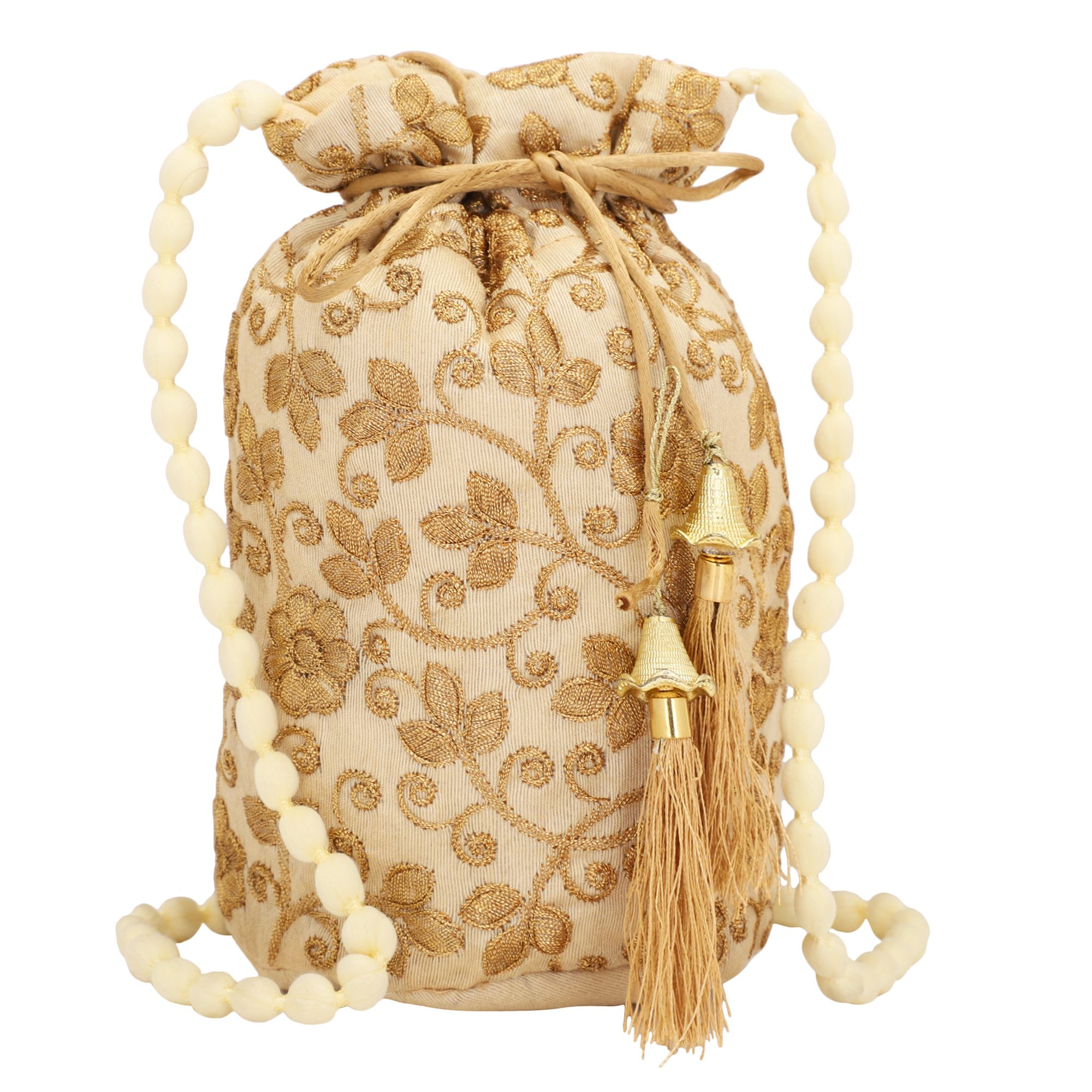 Dupion Silk Zari Embroidered Potli Bag in Beige