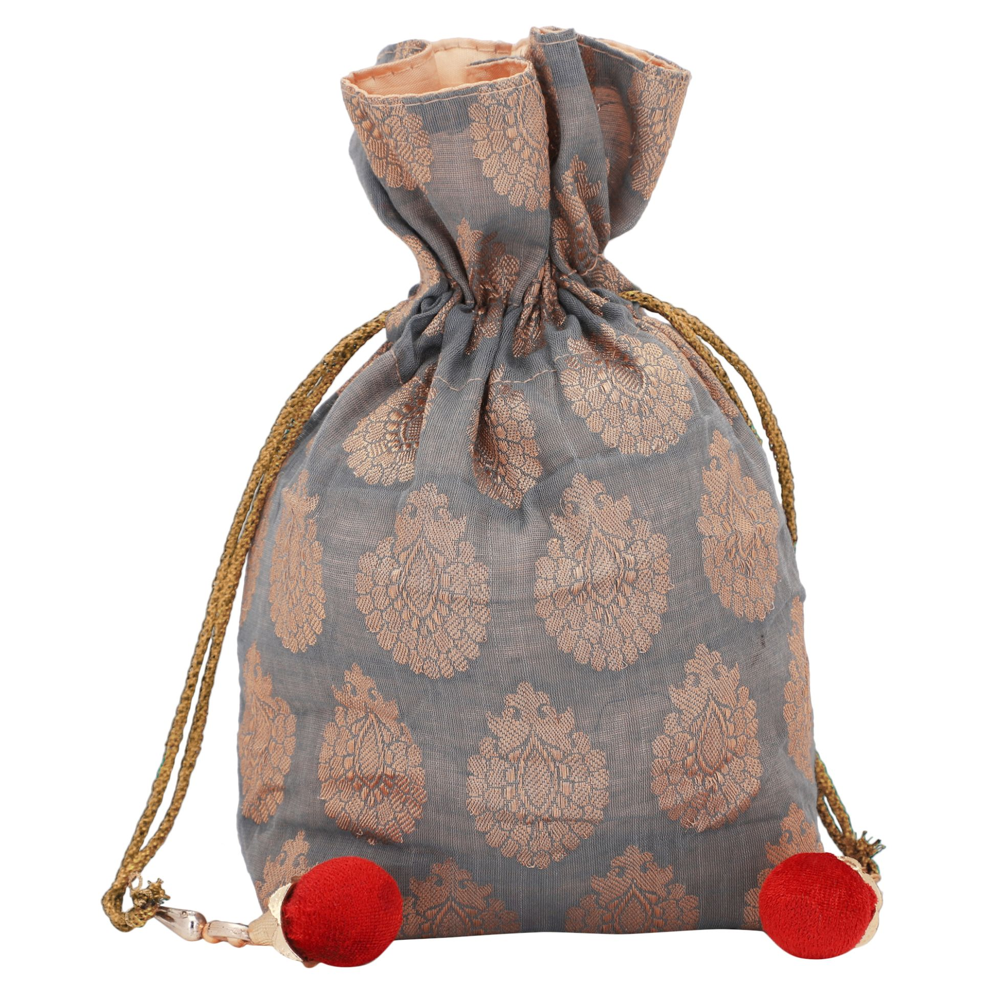 Banarasi Chanderi Jacquard Potli Bag in Grey