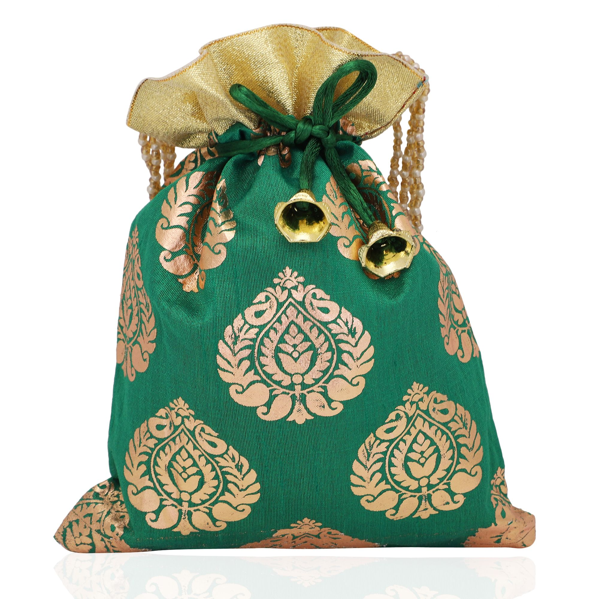 Foil Print Dupion Silk Potli Bag in Green
