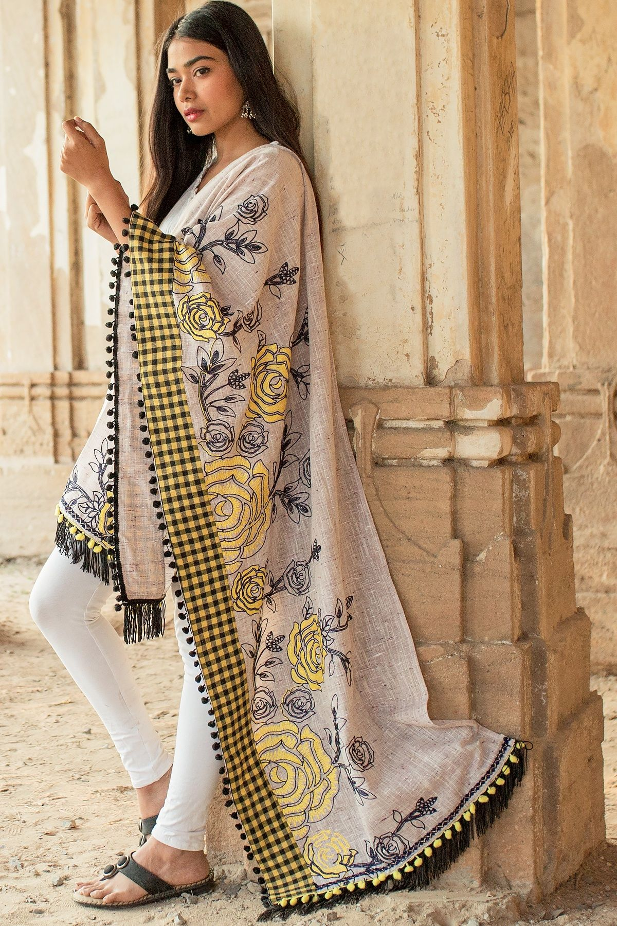 Designer Dupatta In Grey Color