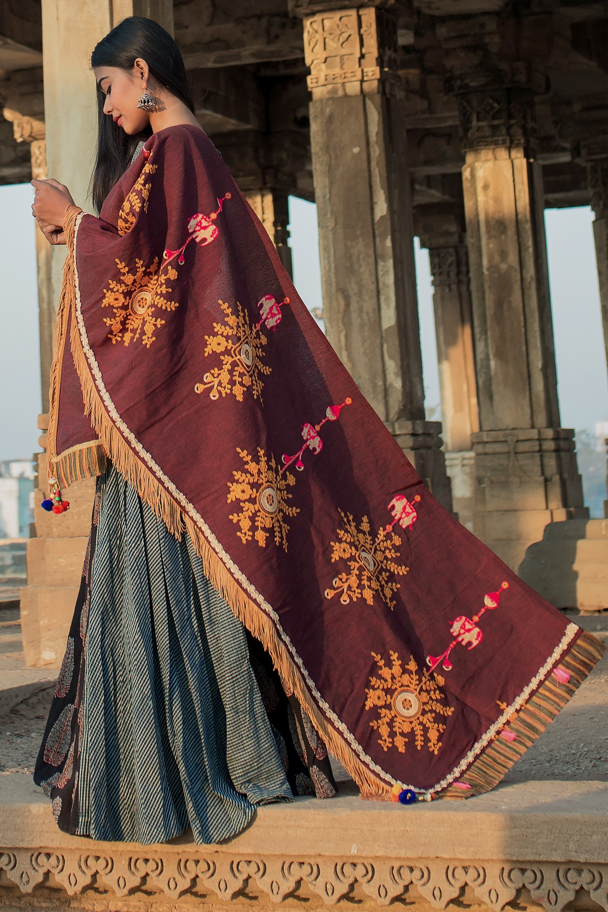 Designer Dupatta In Maroon Color Fabricated On Khadi Cotton Beautified With Contrasting Thread work And Pom Pom Lace