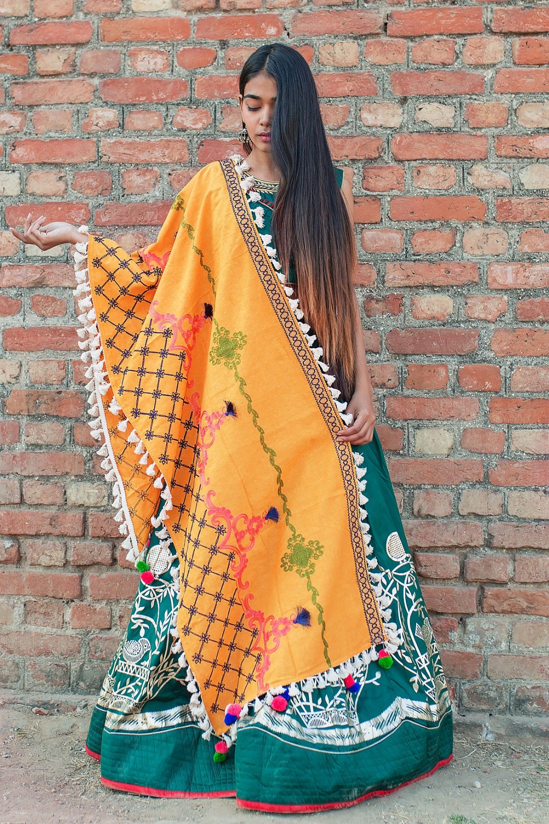 Dupatta In Yellow Color Fabricated On Khadi Cotton Beautified With Multi Colored Thread Work