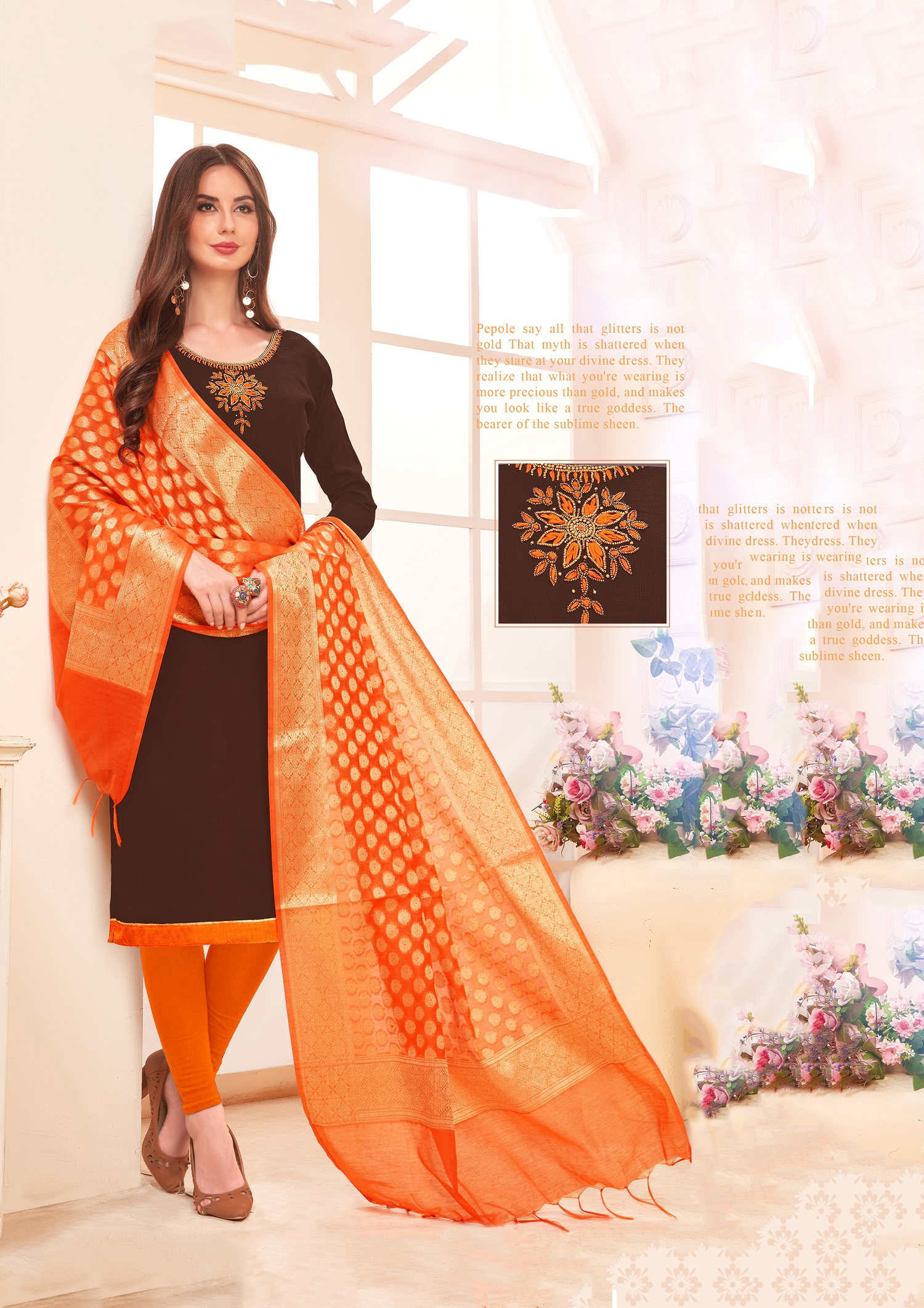 Designer Salwar Suit Top And Bottom With Brown And Orange Colour