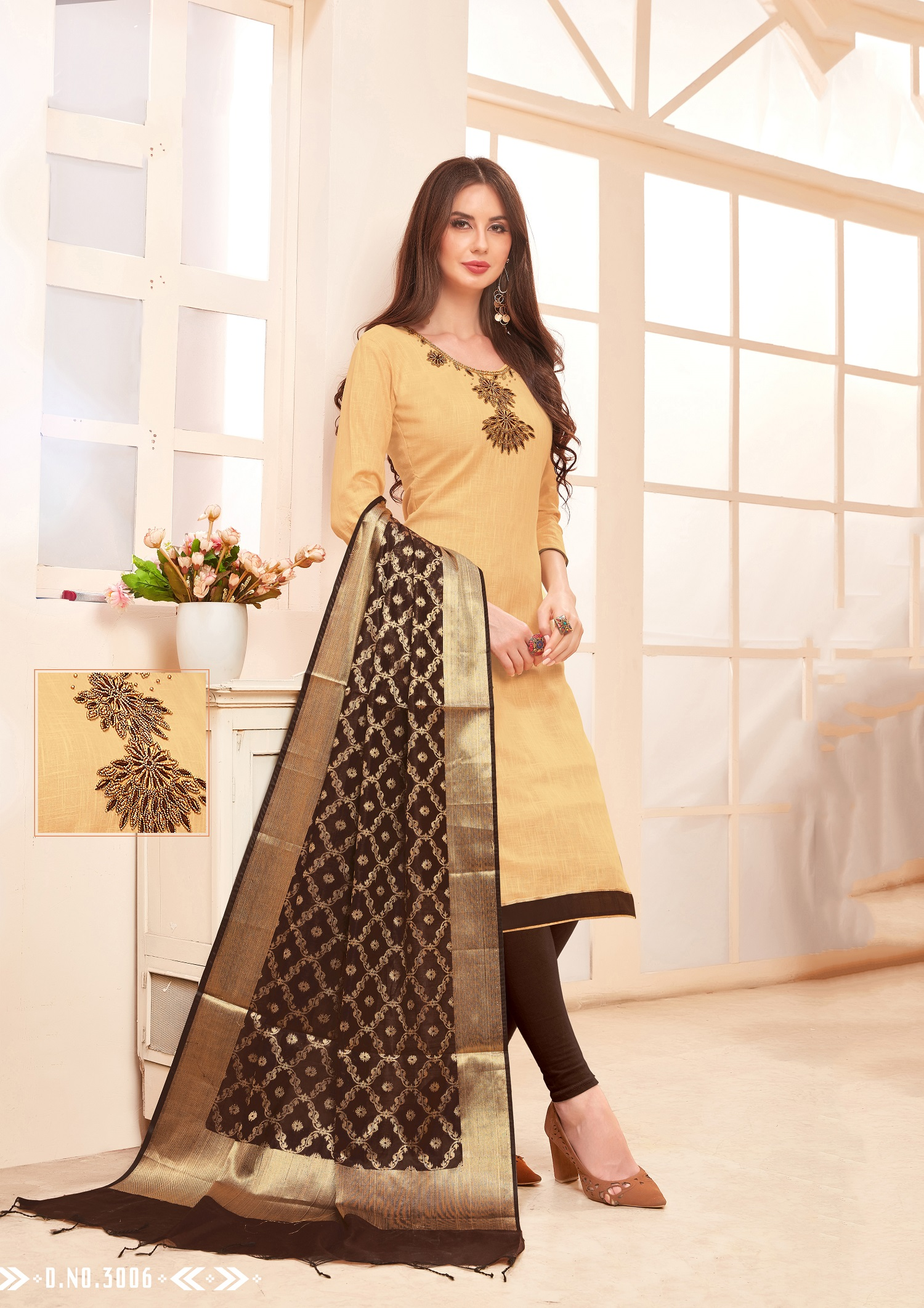Designer Salwar Suit Top And Bottom With Dark Brown And Beige Colour