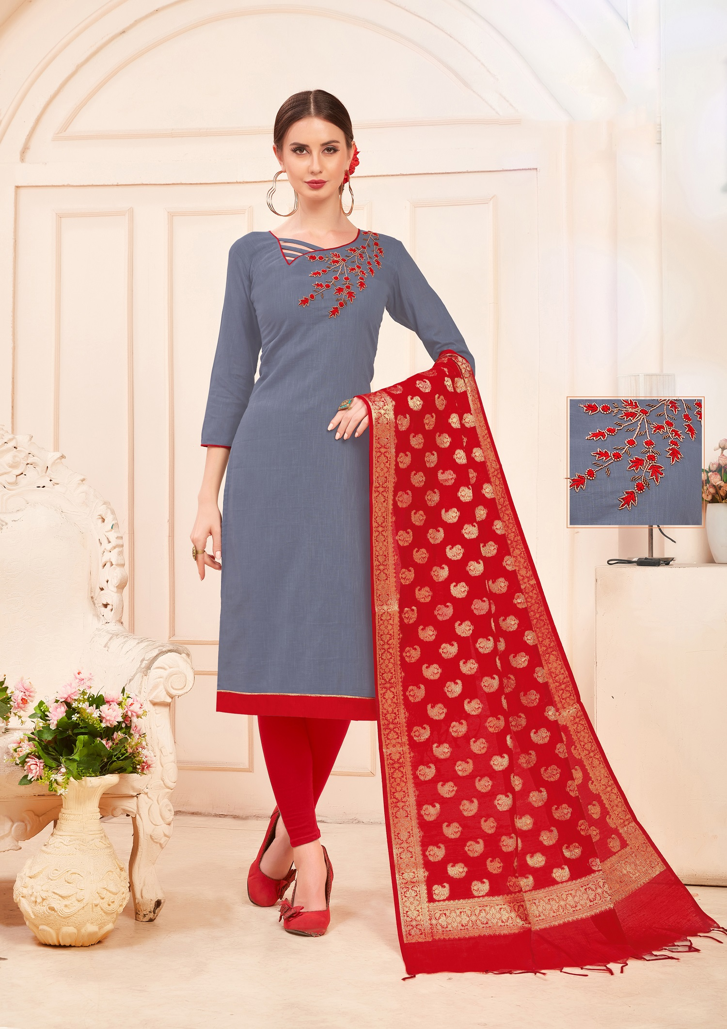 Designer Salwar Suit Top And Bottom With Grey And Red Colour