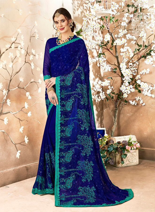 Georgette Saree In Royal Blue Color Paired With Royal Blue Colored Blouse