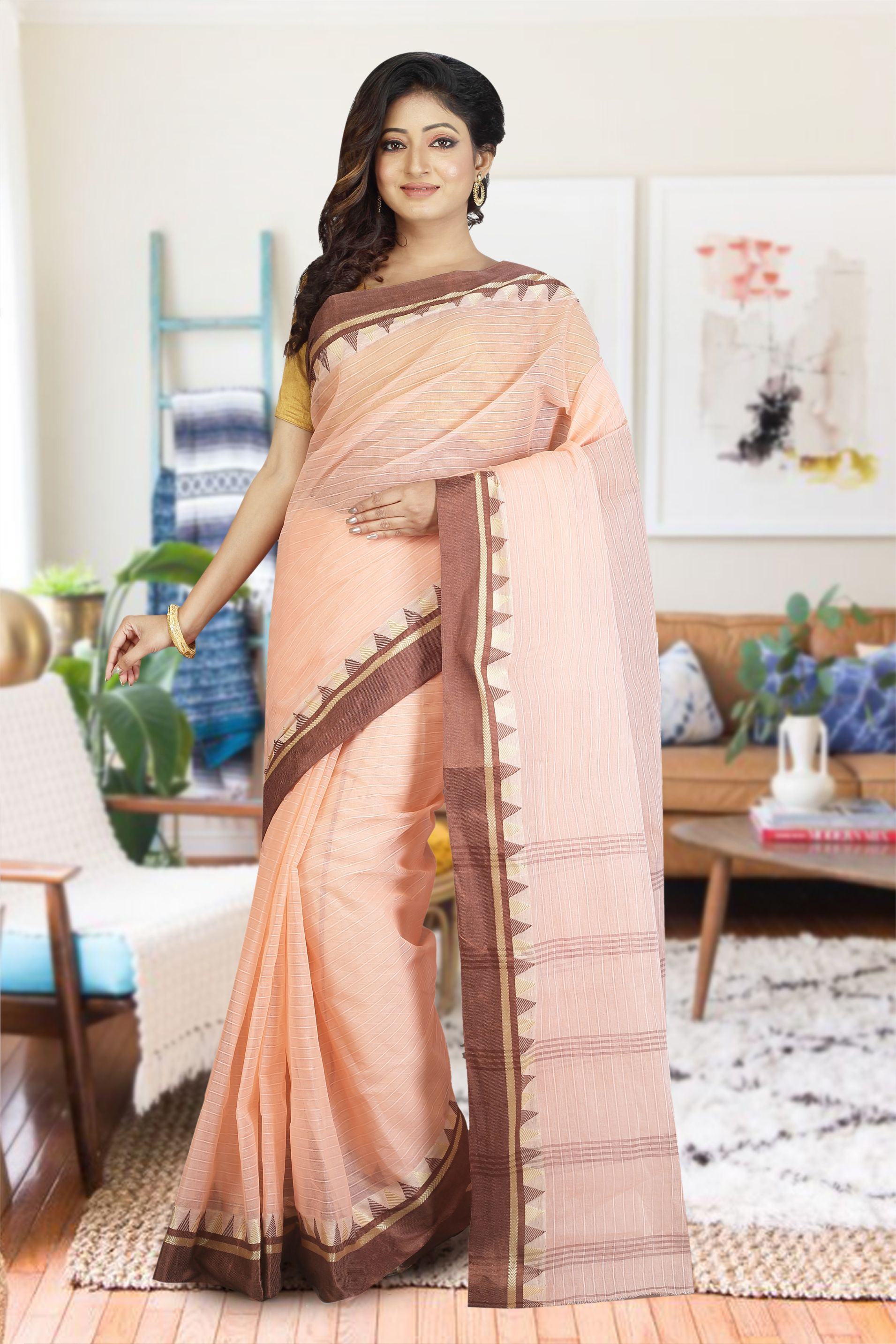 Peach Bengal Hand Woven Cotton Saree without Blouse