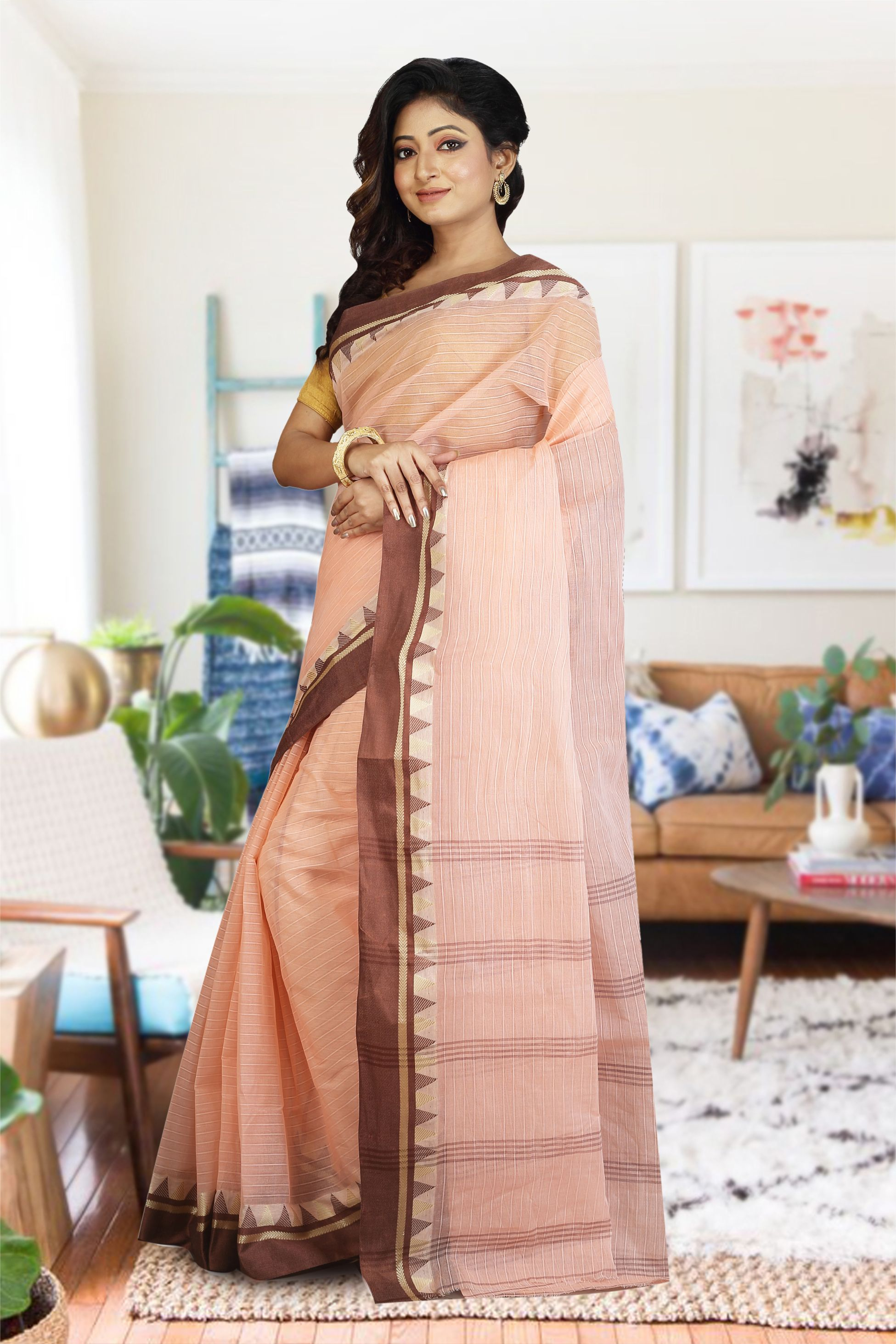 Peach Bengal Hand Woven Cotton Saree without Blouse 1
