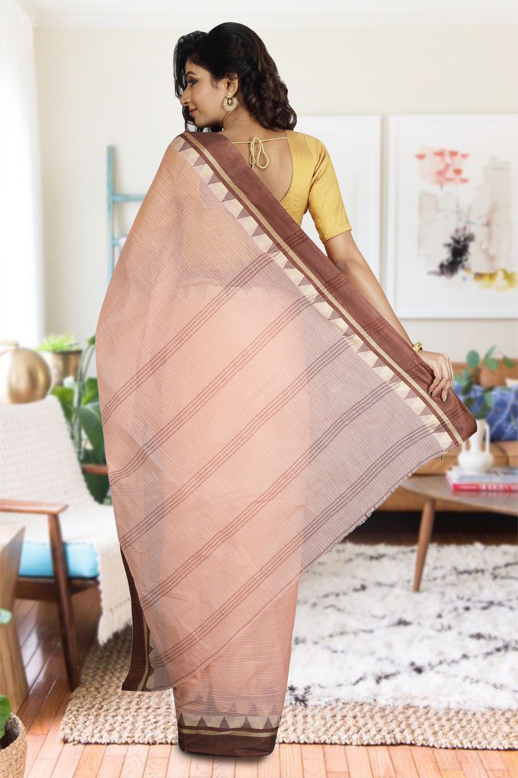 Peach Bengal Hand Woven Cotton Saree without Blouse 2