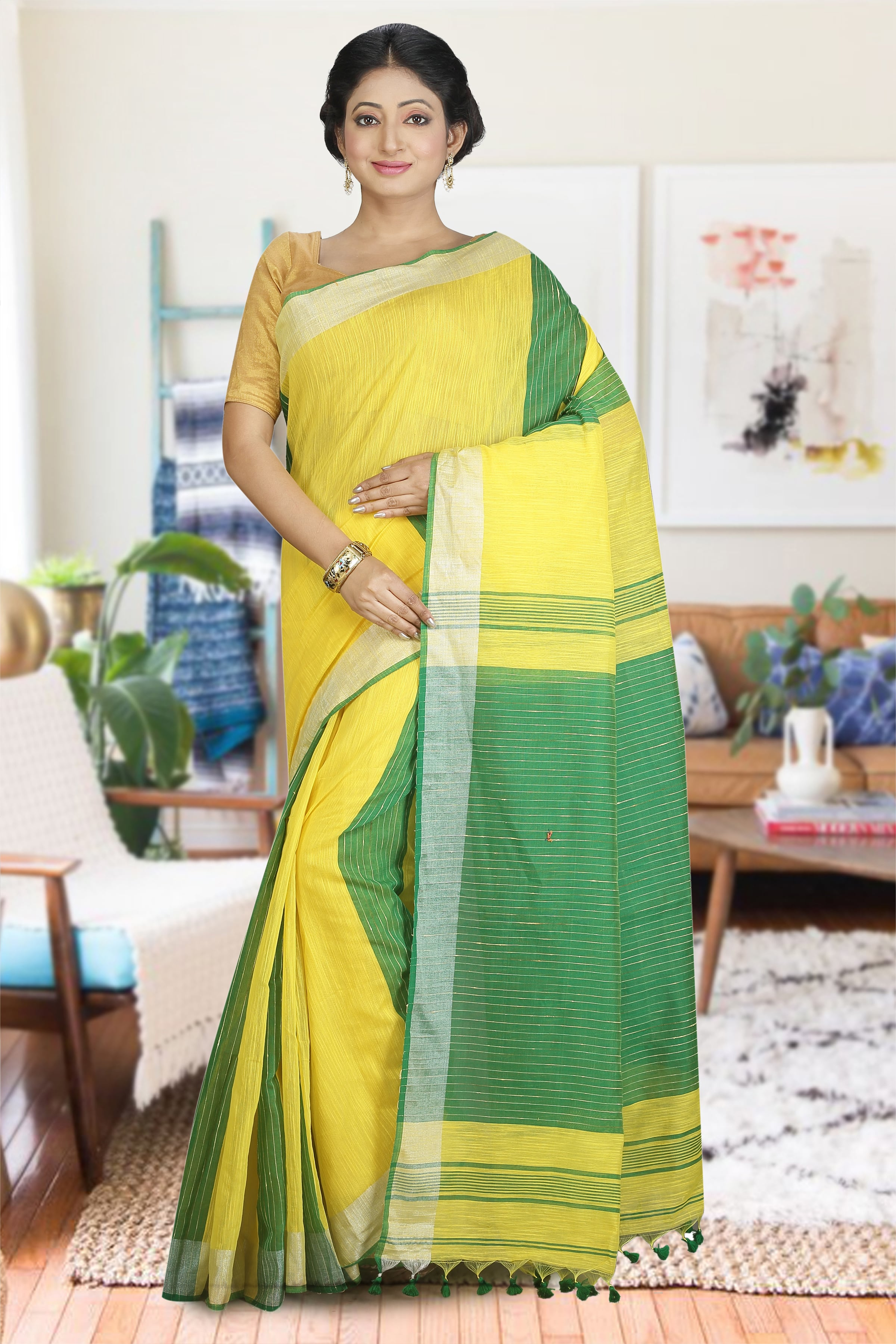 Green and Yellow Blended Cotton Saree
