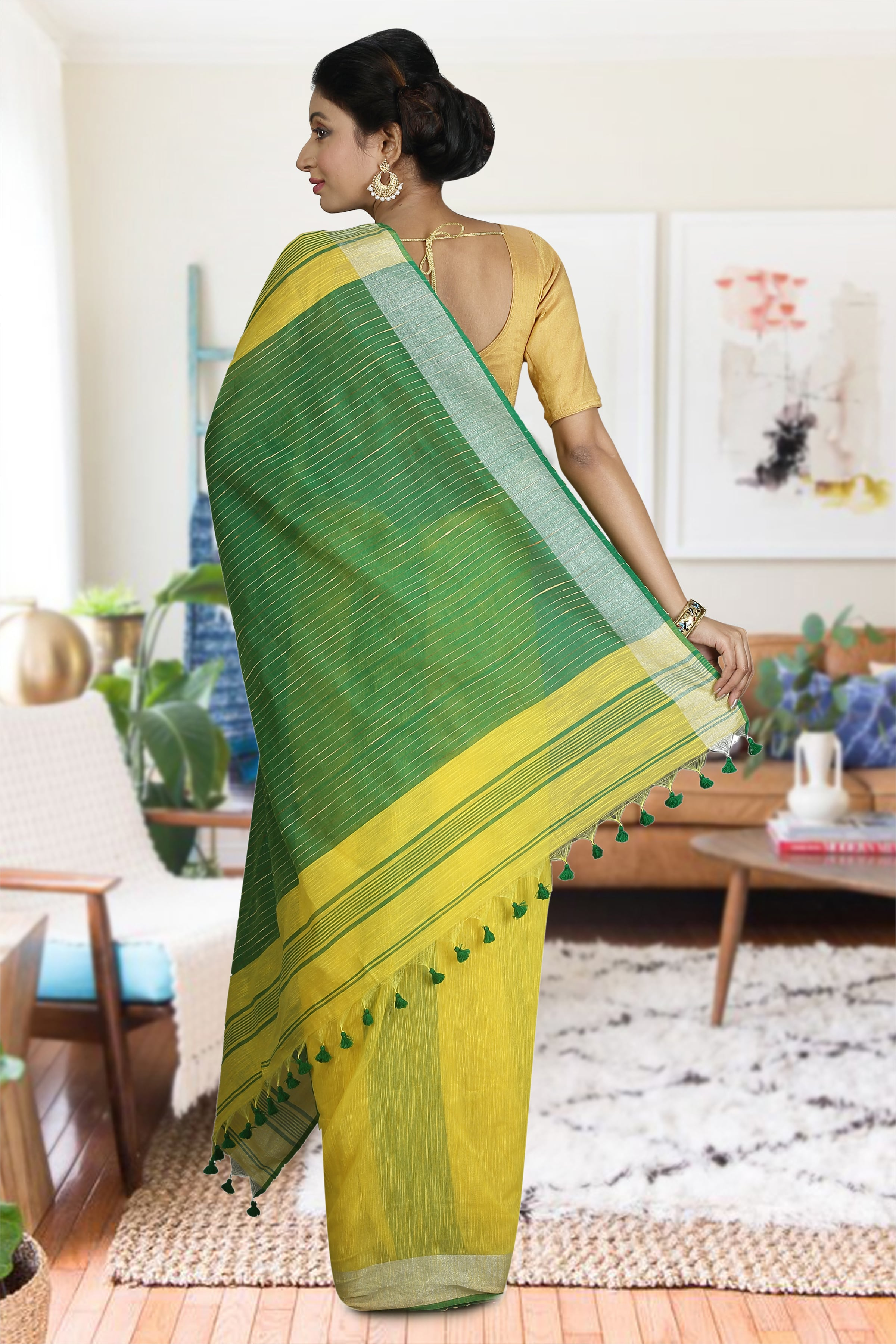 Green and Yellow Blended Cotton Saree 1