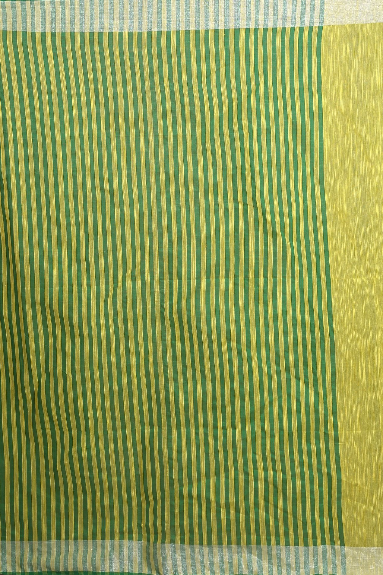 Green and Yellow Blended Cotton Saree 2
