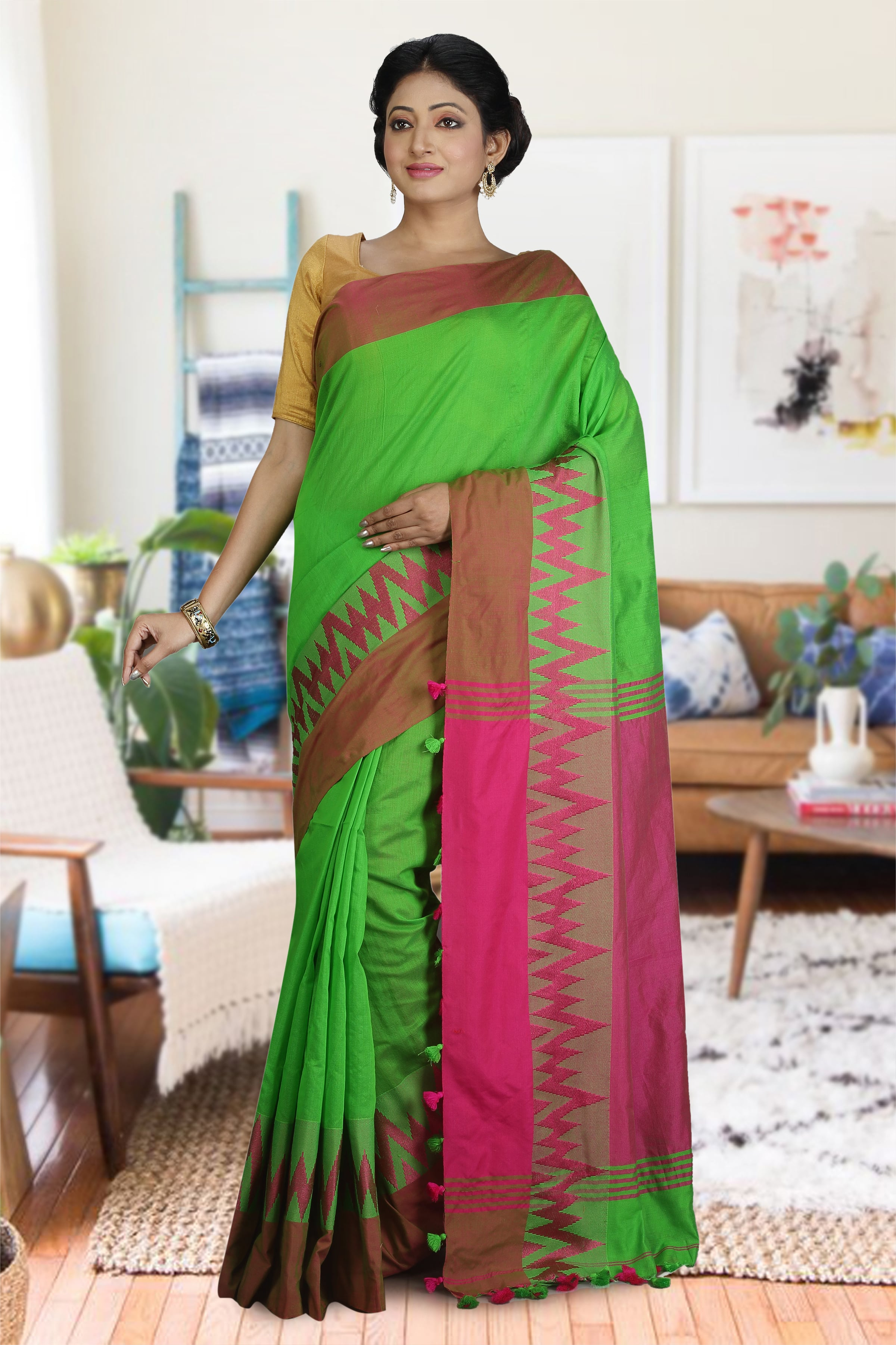 Green and Pink Blended Cotton Saree