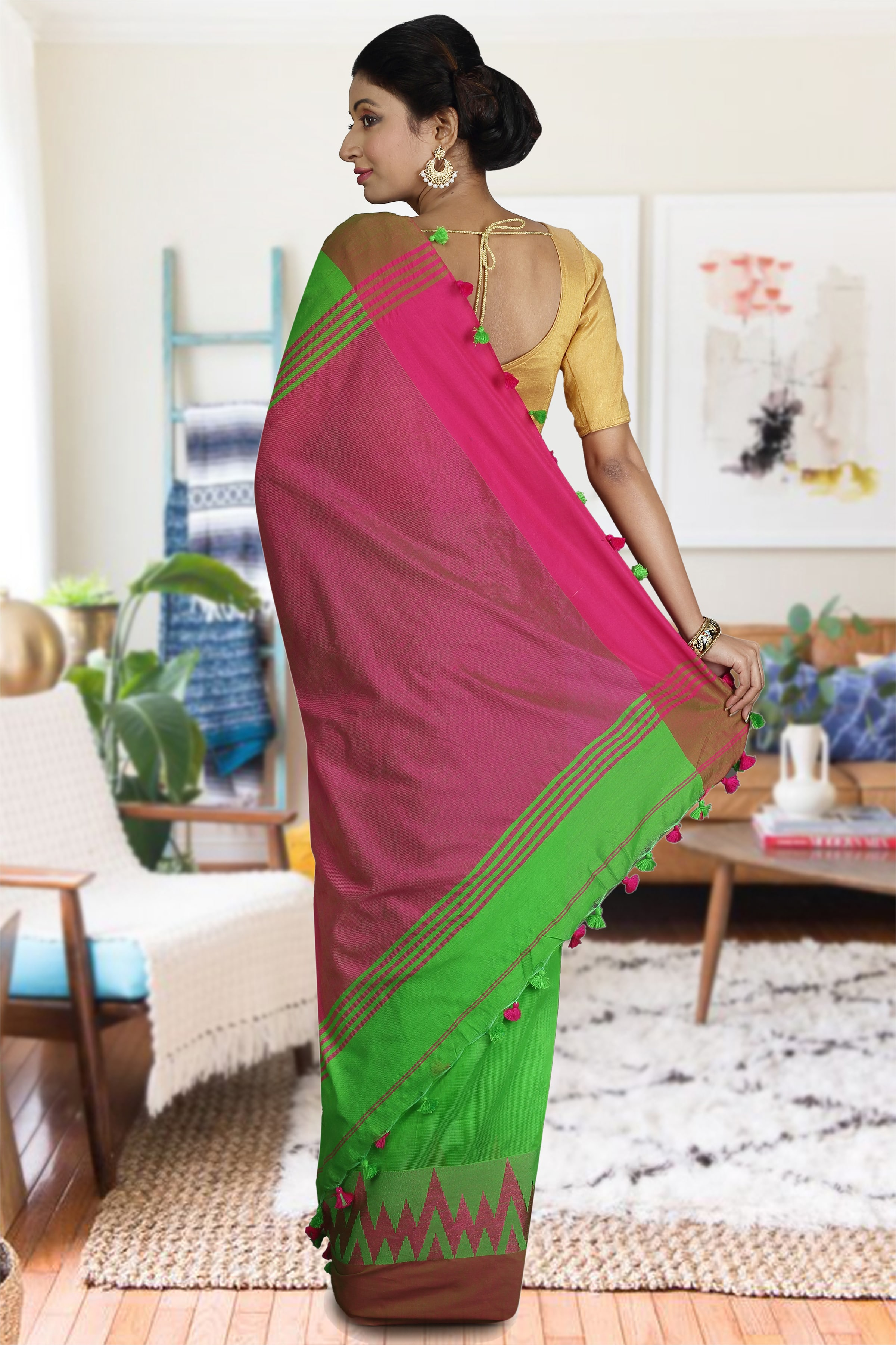 Green and Pink Blended Cotton Saree 1