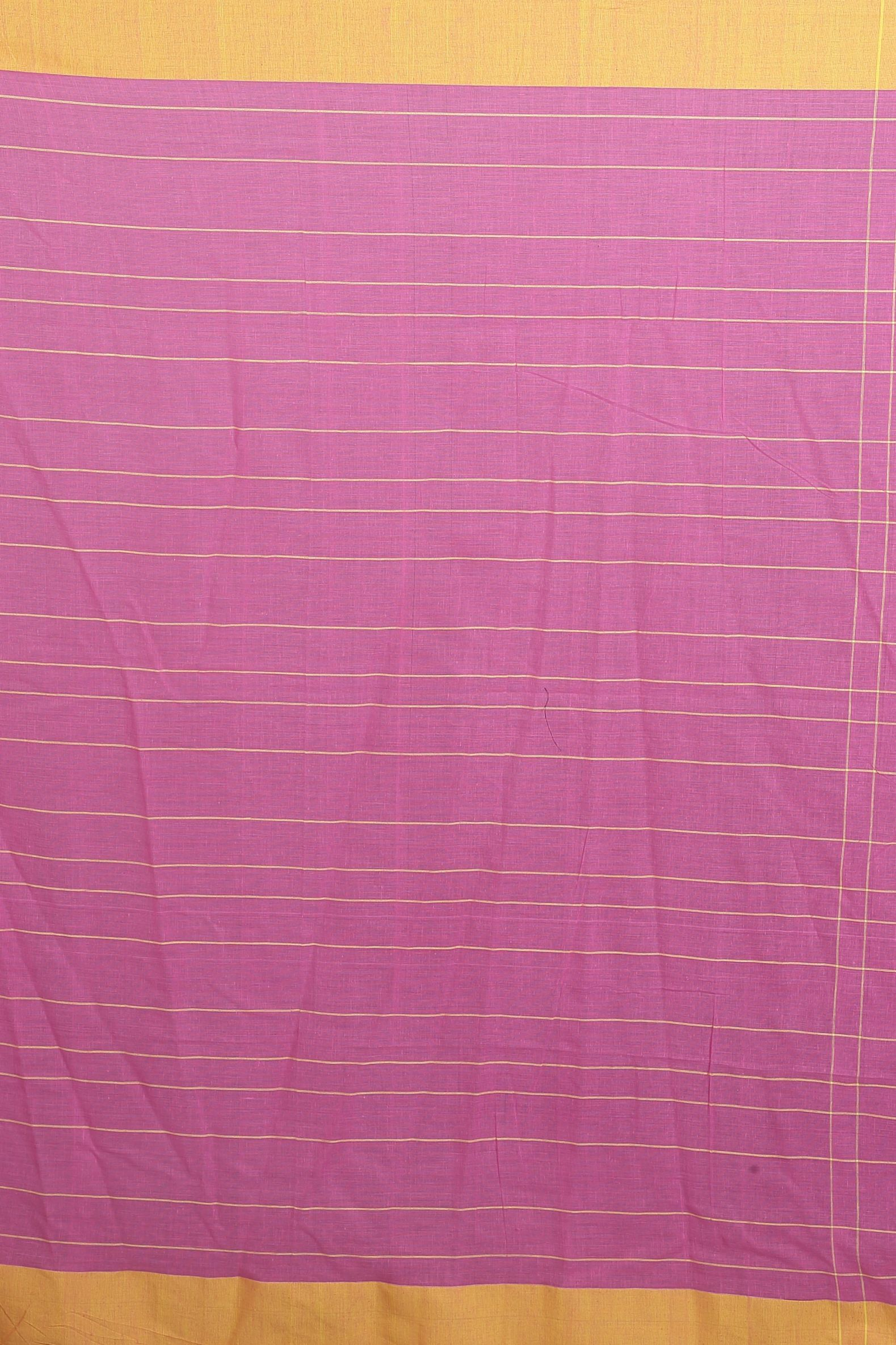 Pink and Yellow Hand Woven Blended Cotton Saree 2