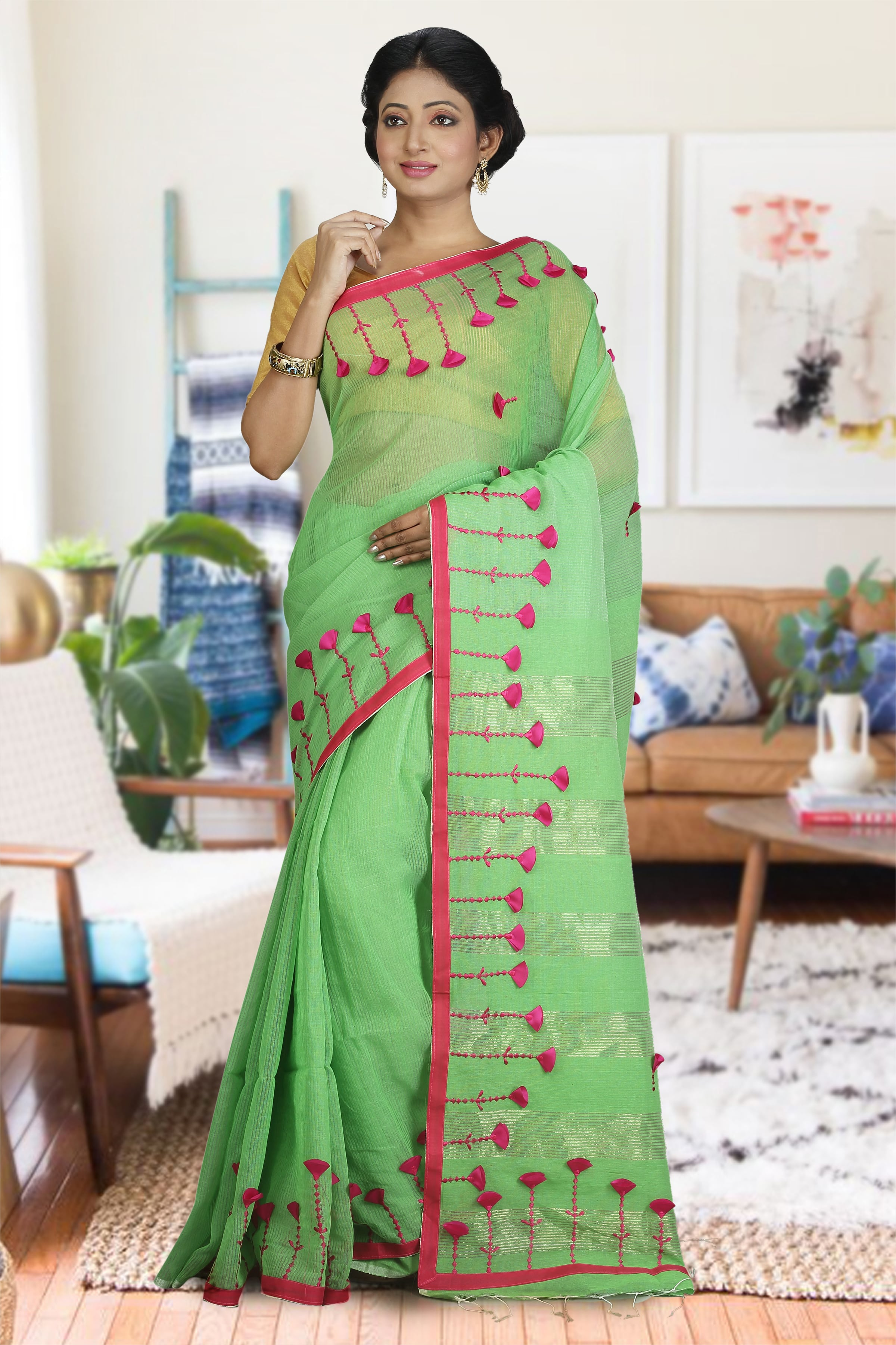 Green & Pink Blended Cotton Saree