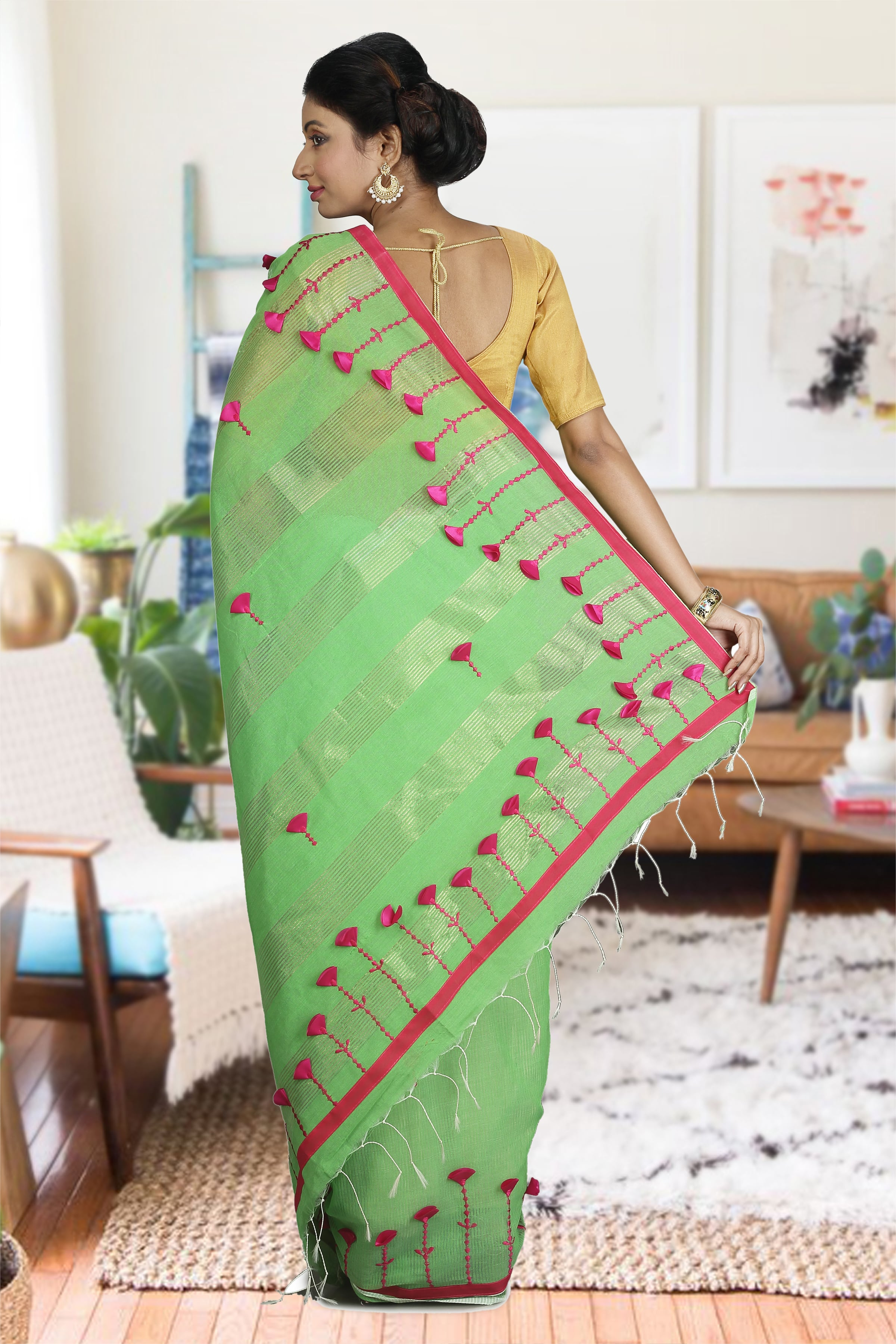 Green & Pink Blended Cotton Saree 1