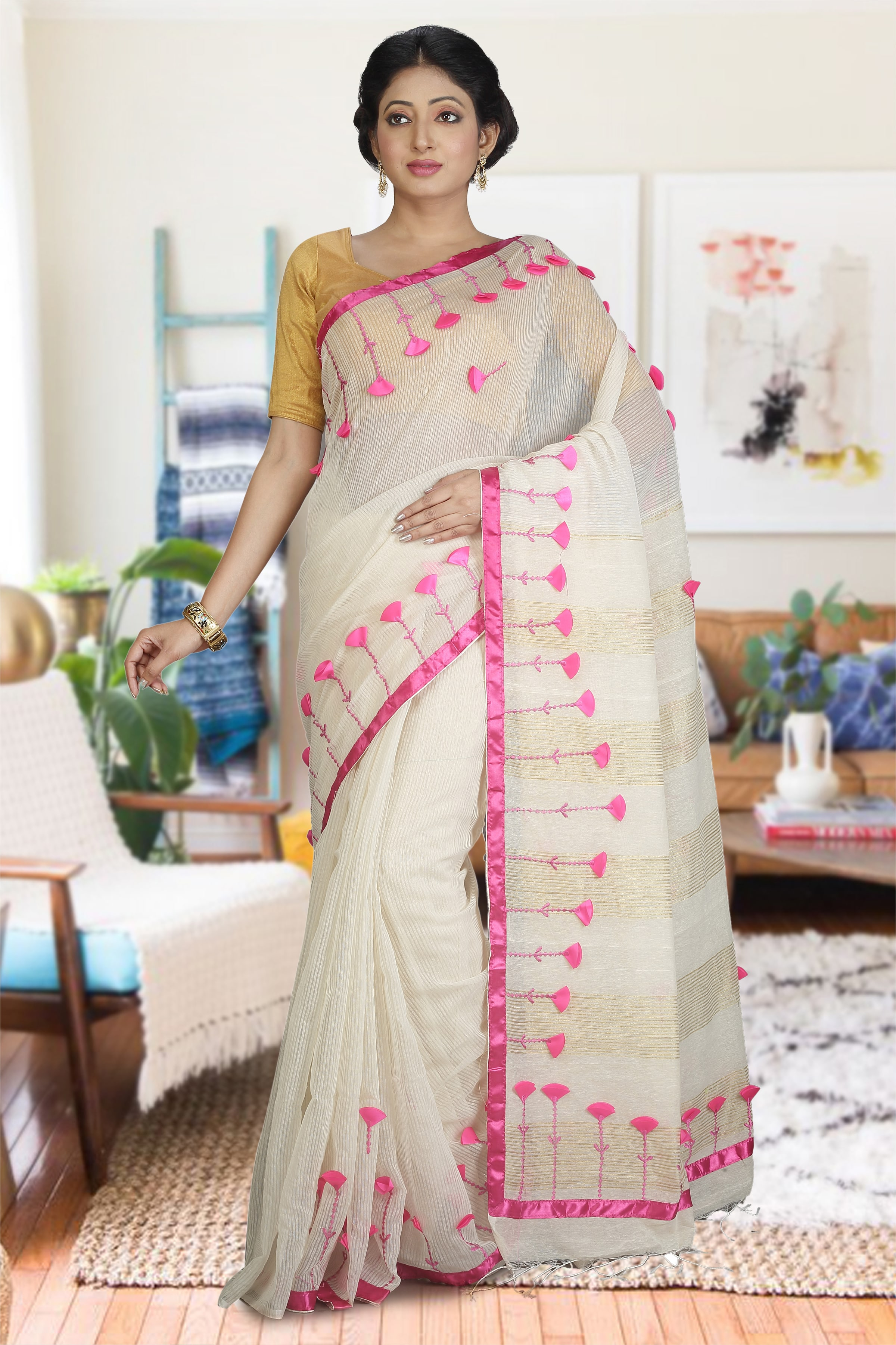 Off White and Pink Hand Woven Blended Cotton Saree