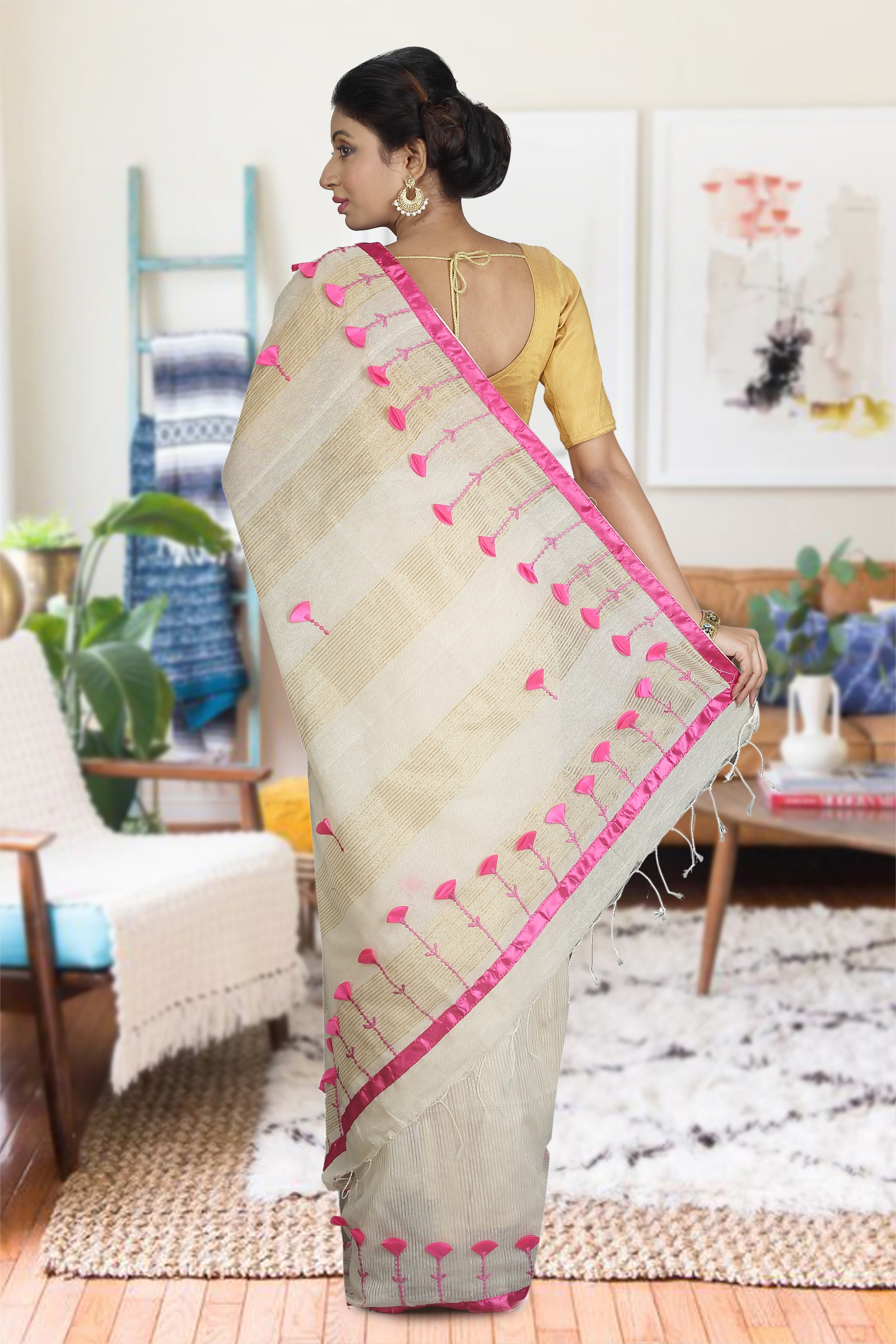 Off White and Pink Hand Woven Blended Cotton Saree 1