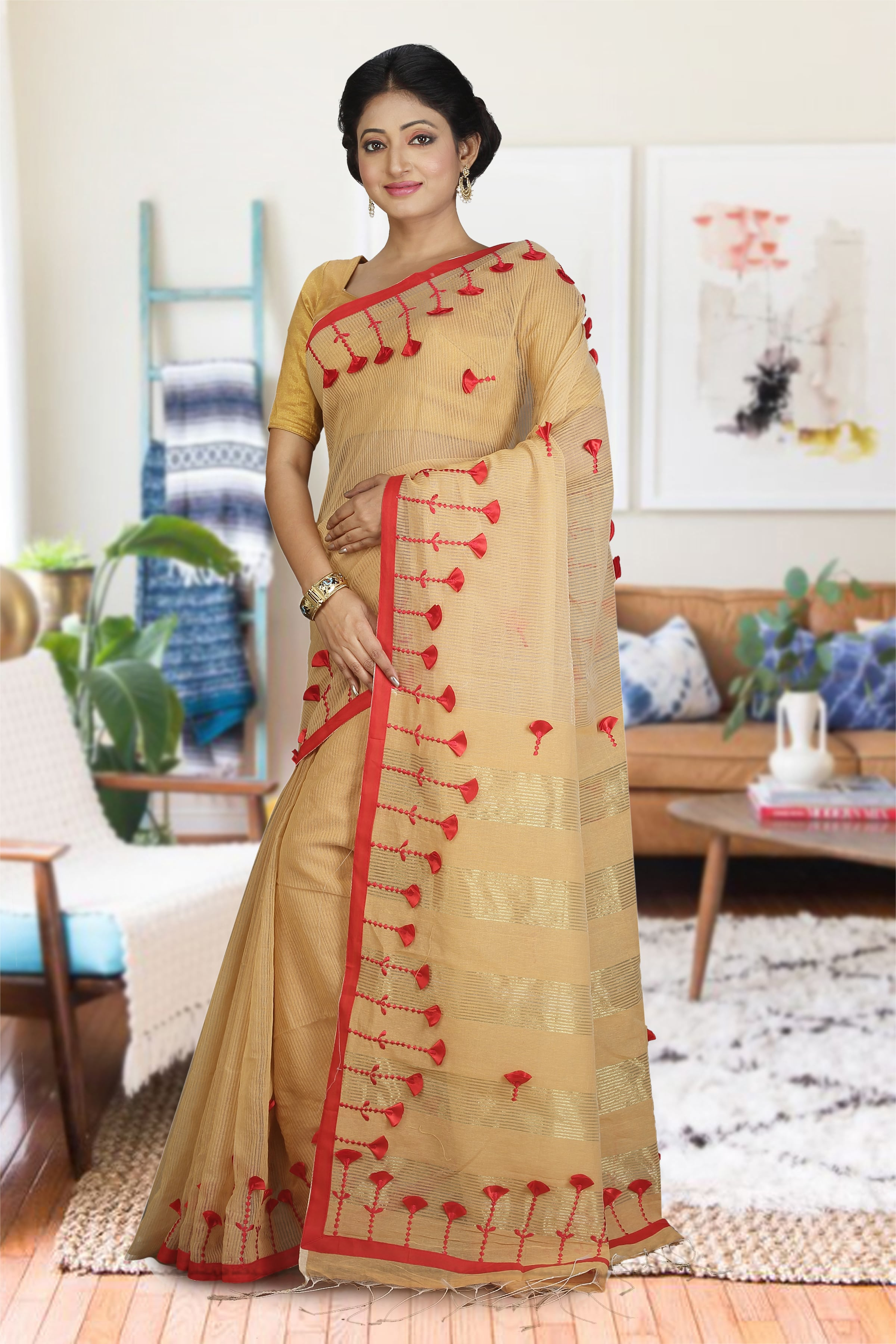 Beige and Red Hand Woven Blended Cotton Saree 1