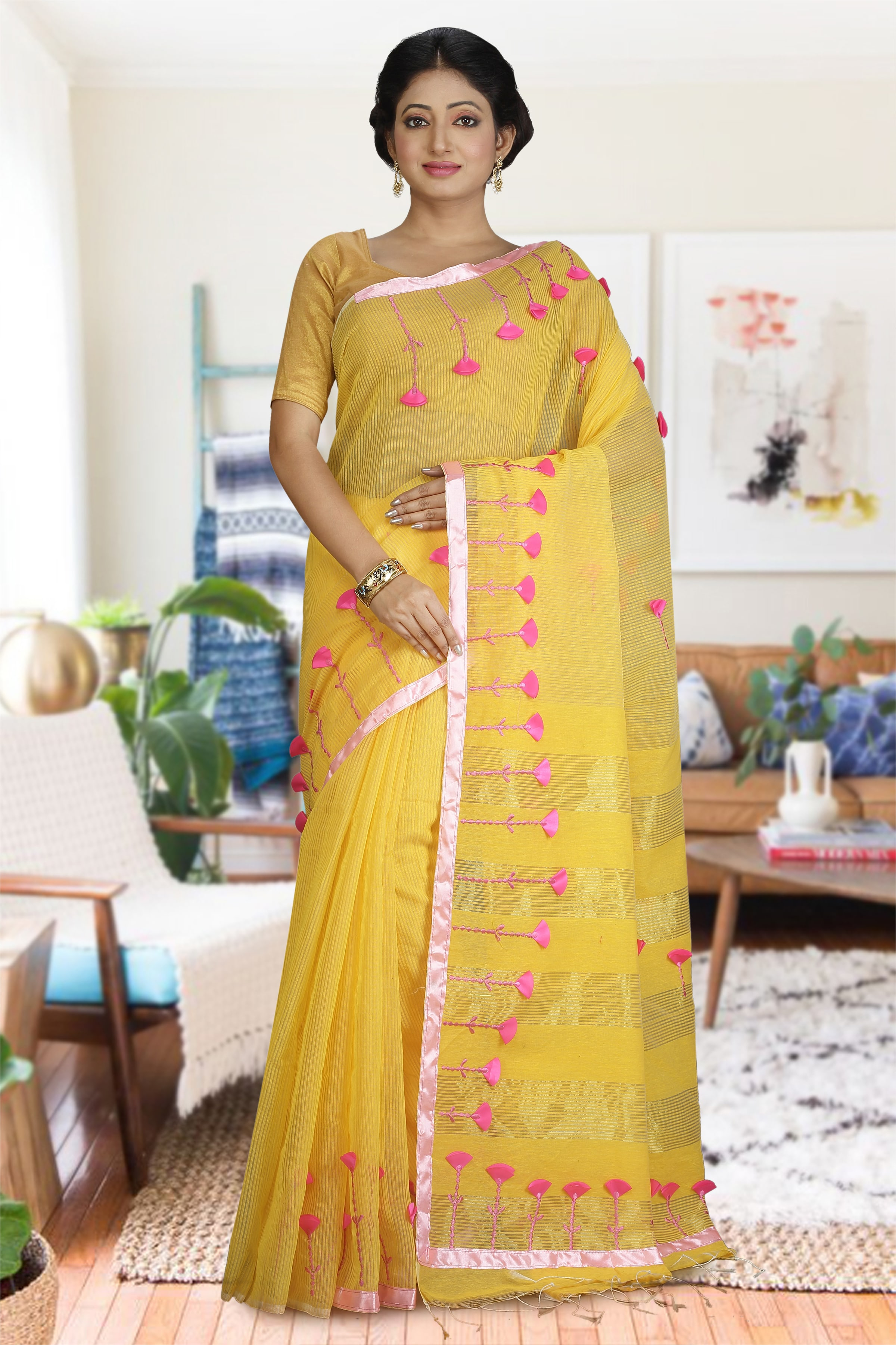 Yellow and Pink Hand Woven Blended Cotton Saree